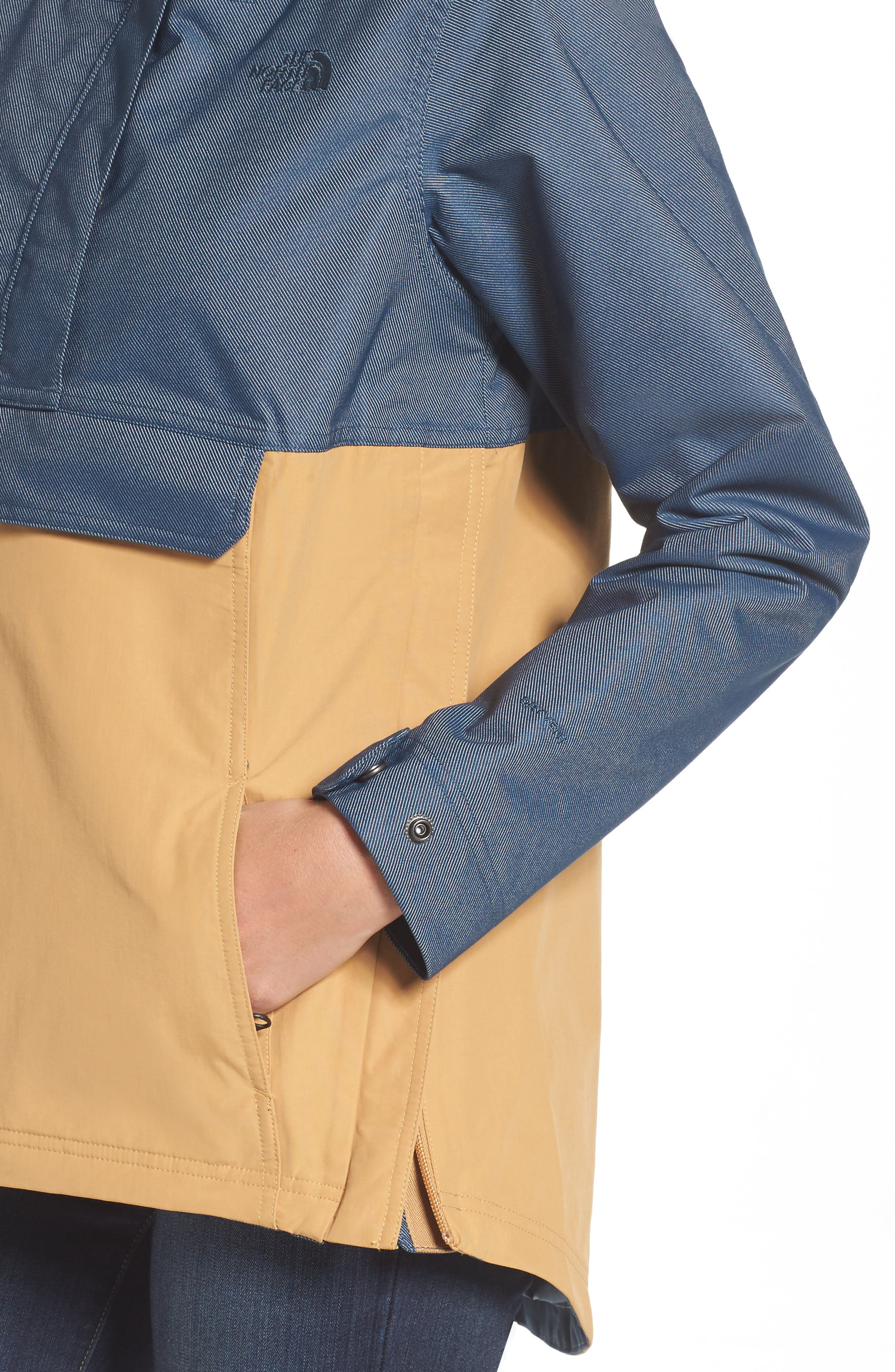 Cadet Anorak Rain Jacket,                             Alternate thumbnail 4, color,                             Biscuit Tan Ink Blue