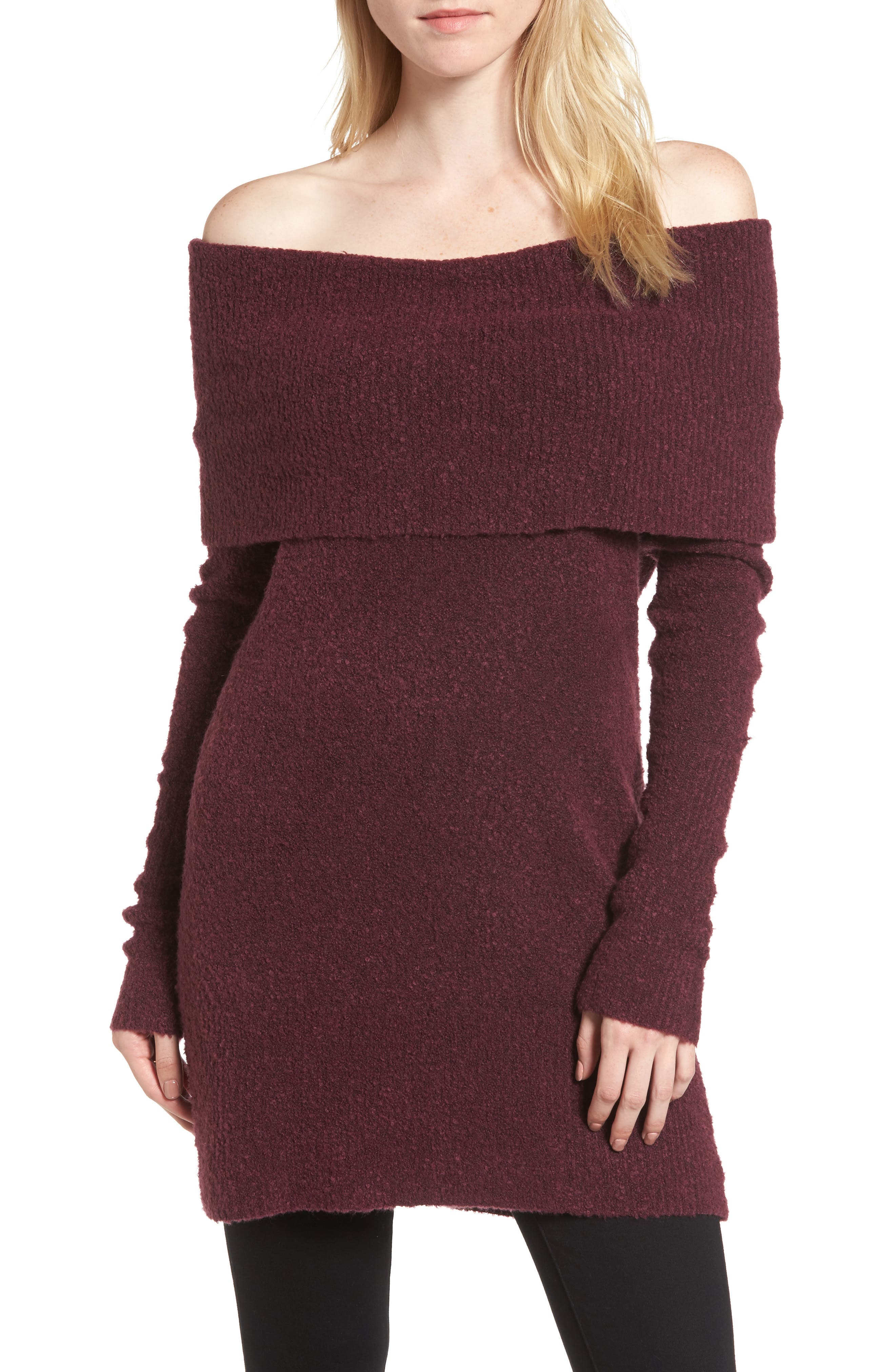 Off the Shoulder Tunic,                             Main thumbnail 1, color,                             Burgundy Fig