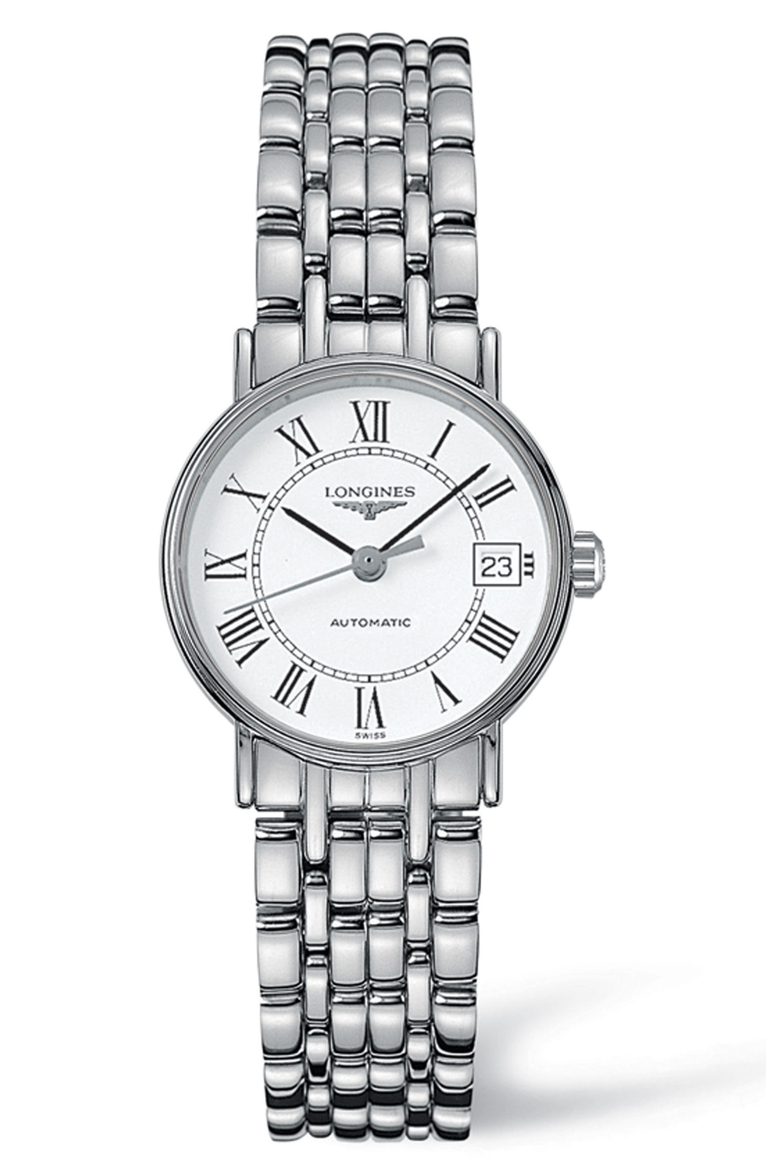 Présence Automatic Bracelet Watch, 25.5mm,                             Main thumbnail 1, color,                             Silver/ White/ Silver