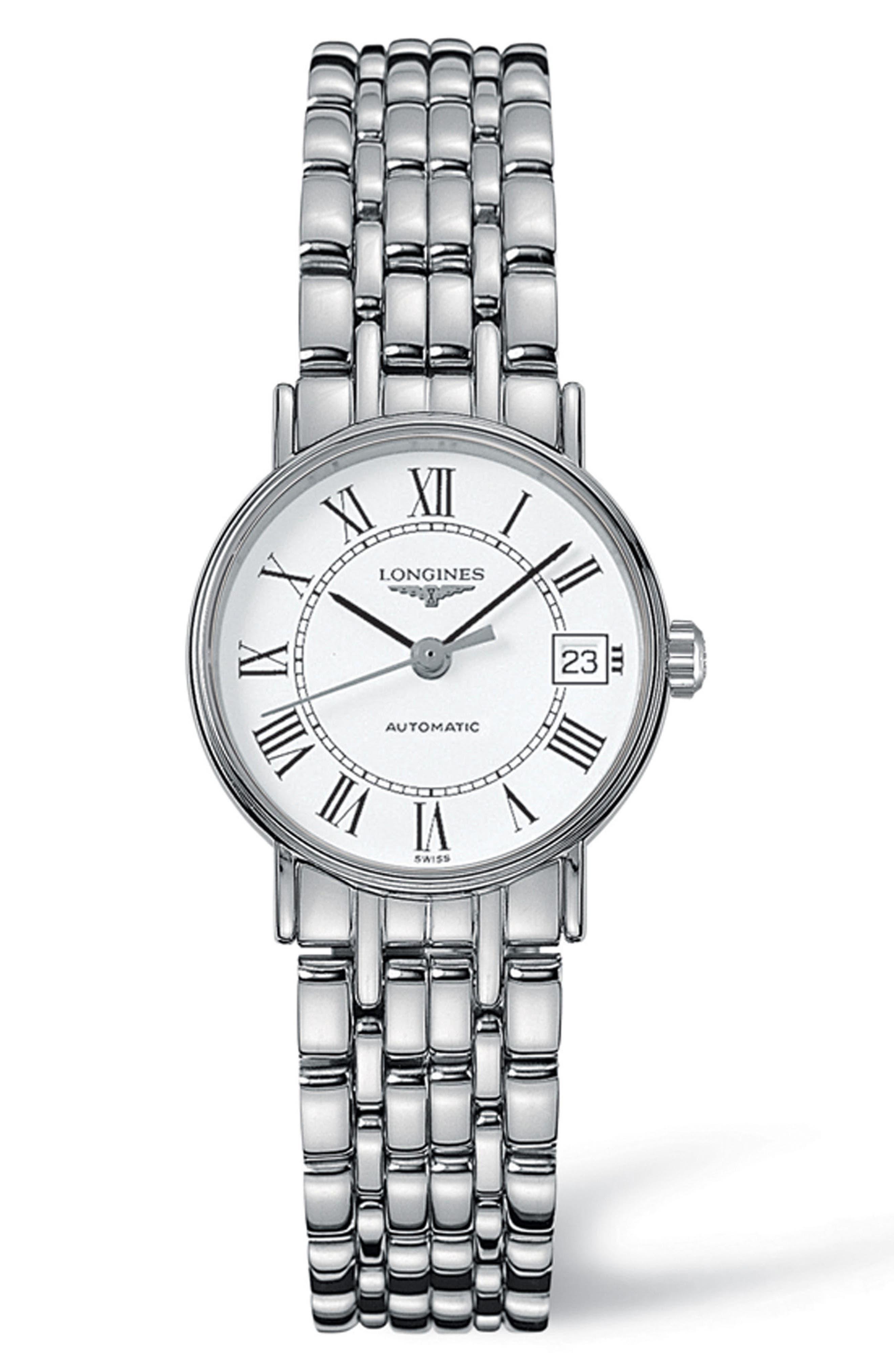 Présence Automatic Bracelet Watch, 25.5mm,                         Main,                         color, Silver/ White/ Silver