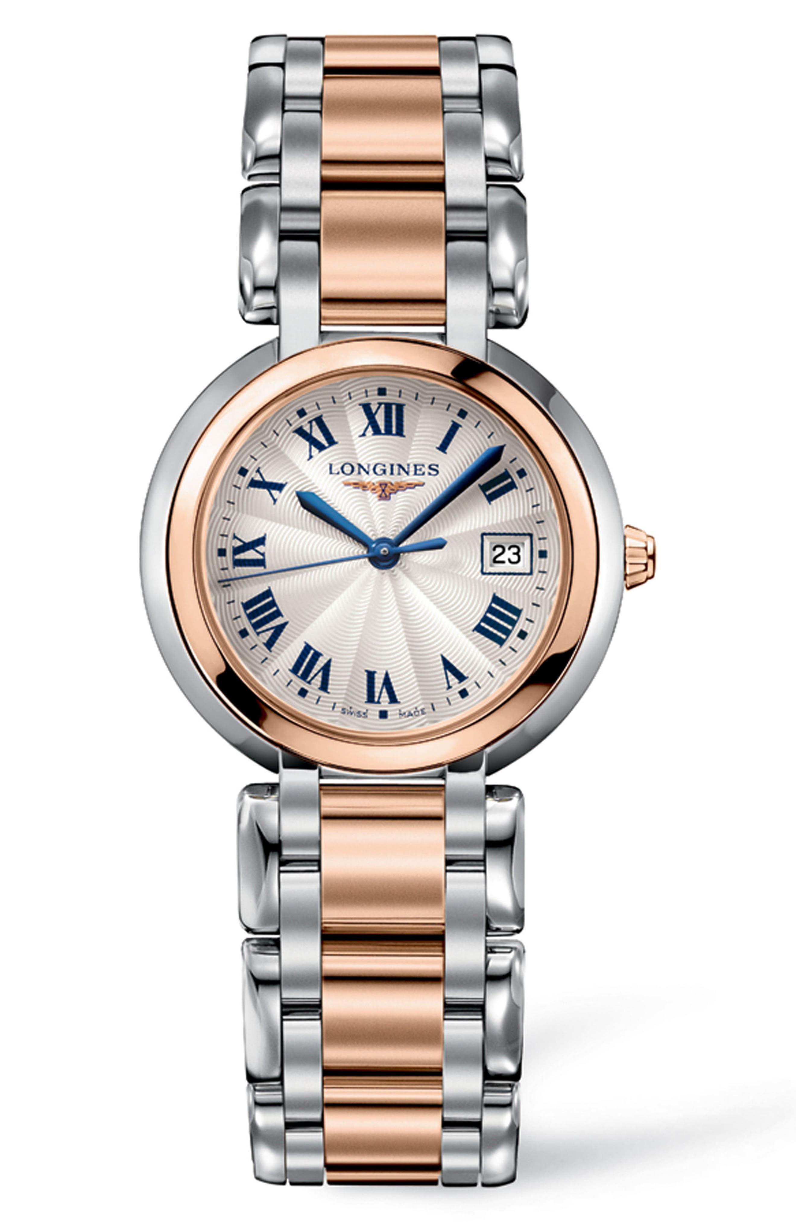 PrimaLuna Bracelet Watch, 30mm,                             Main thumbnail 1, color,                             Silver/ Rose Gold