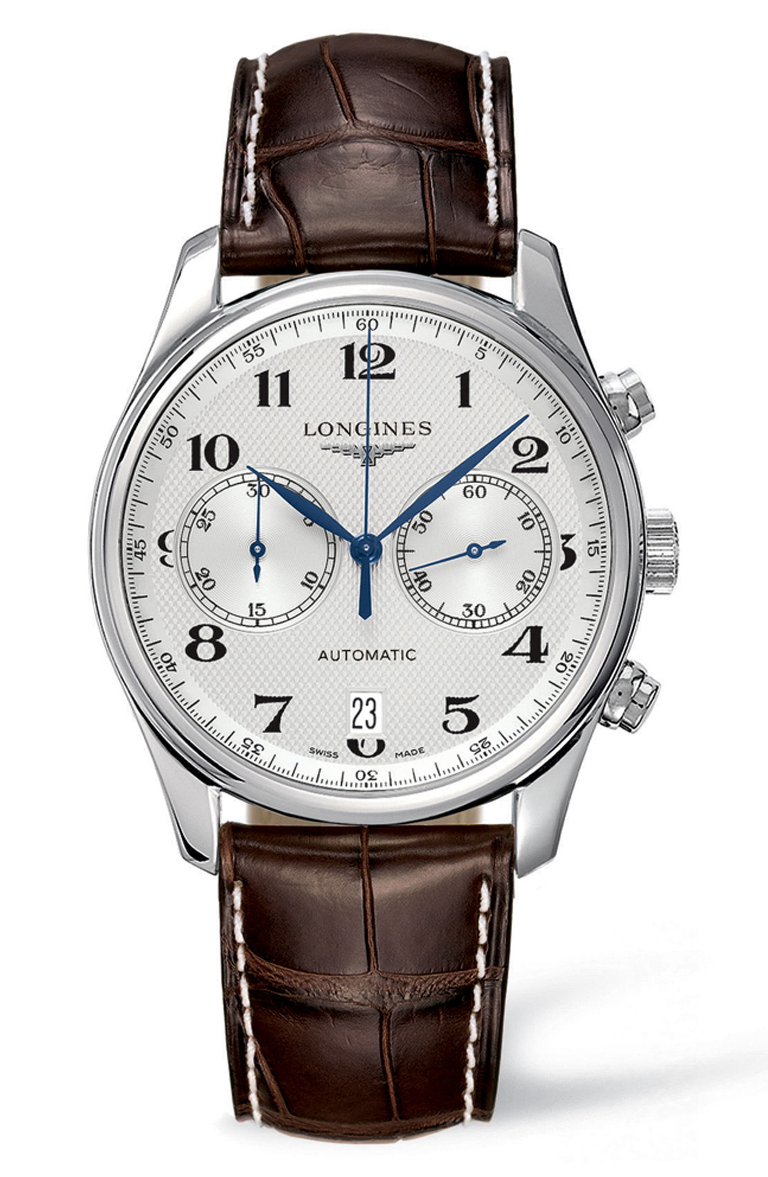 Master Automatic Chronograph Leather Strap Watch, 40mm,                         Main,                         color, Brown/ Silver