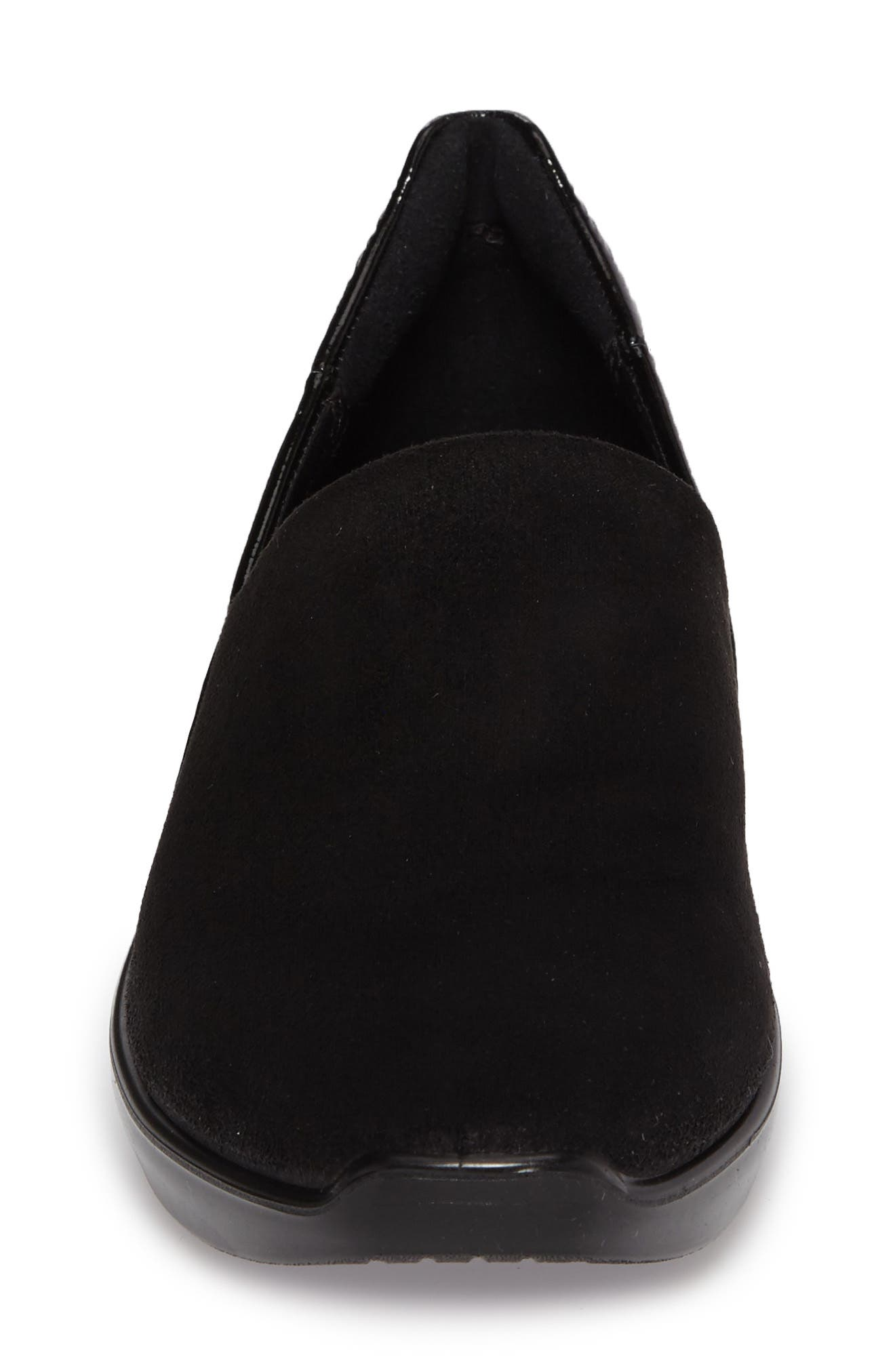 Incise Urban Slip-On Wedge,                             Alternate thumbnail 4, color,                             Black Faux Leather