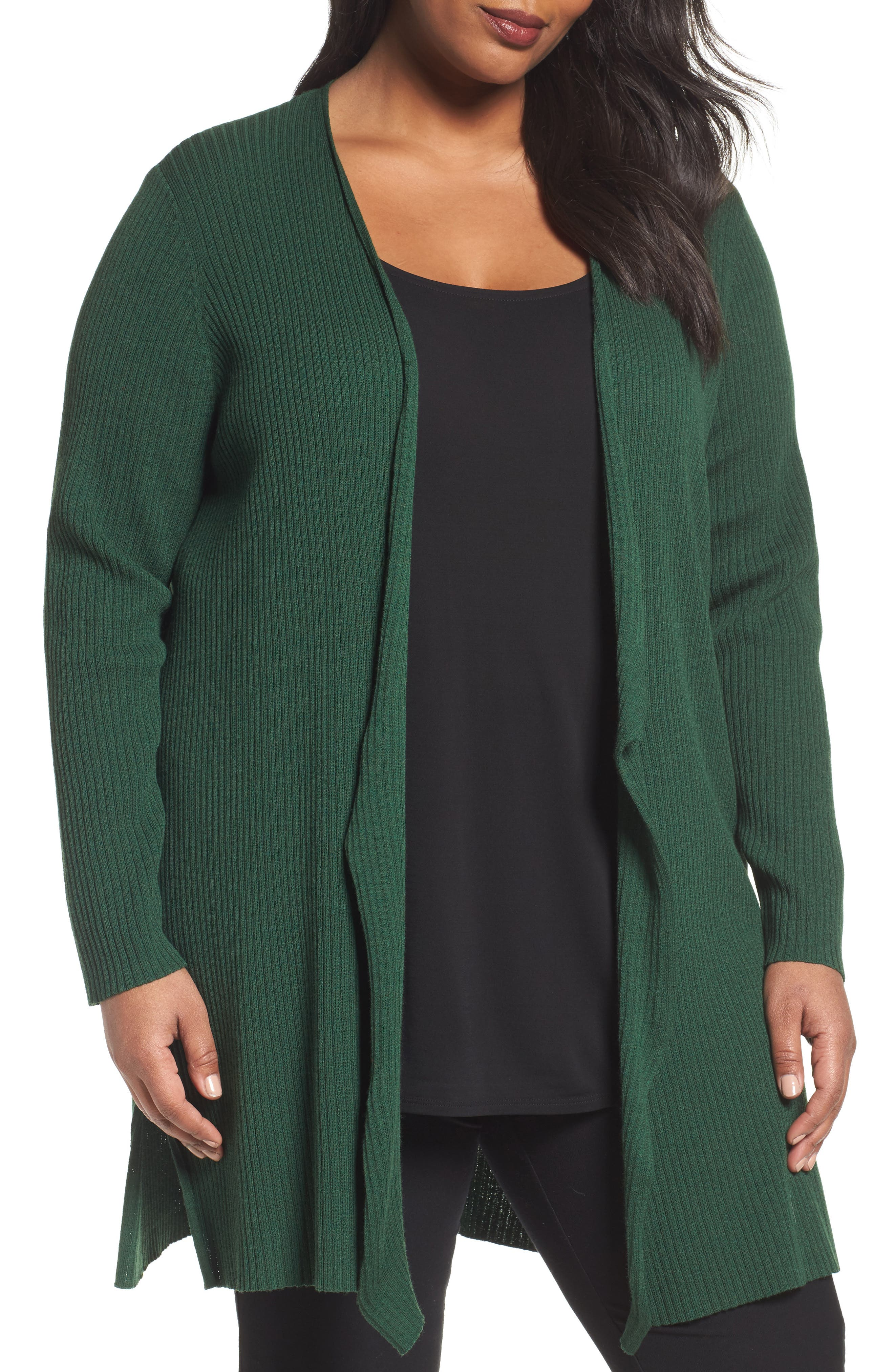 Eileen Fisher Long Ribbed Wool Cardigan (Plus Size)