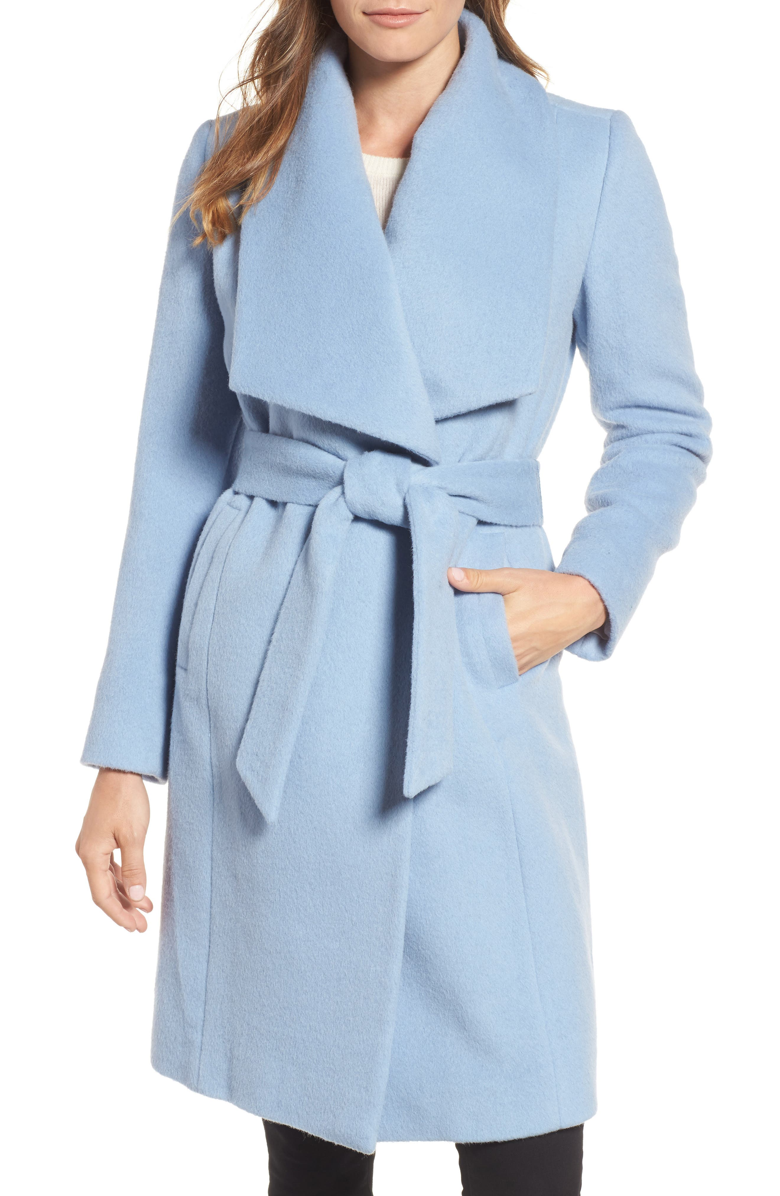 Alpaca Blend Wrap Coat,                         Main,                         color, Periwinkle