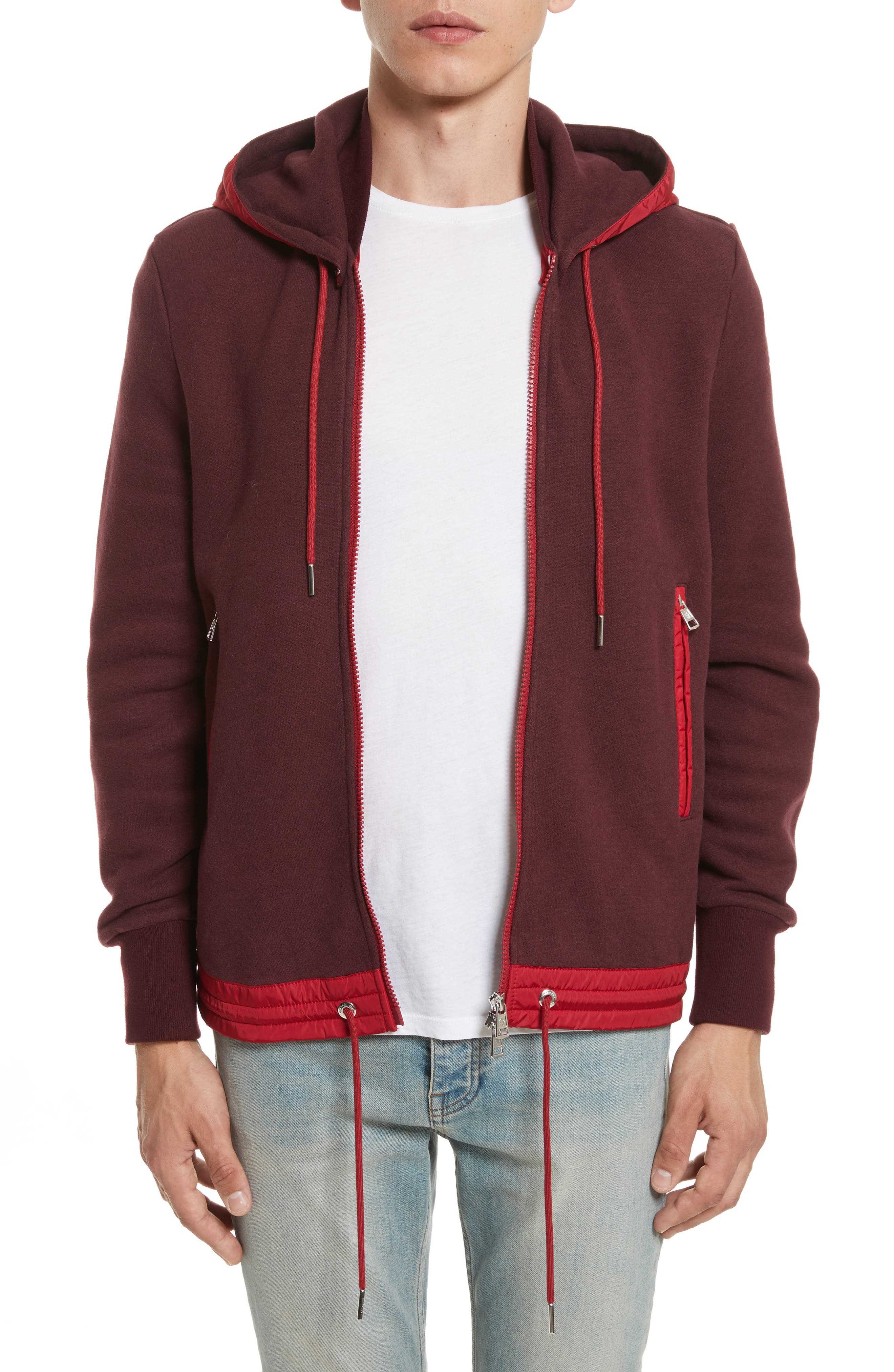 Maglia Knit Bomber with Removable Hood,                         Main,                         color, Pink