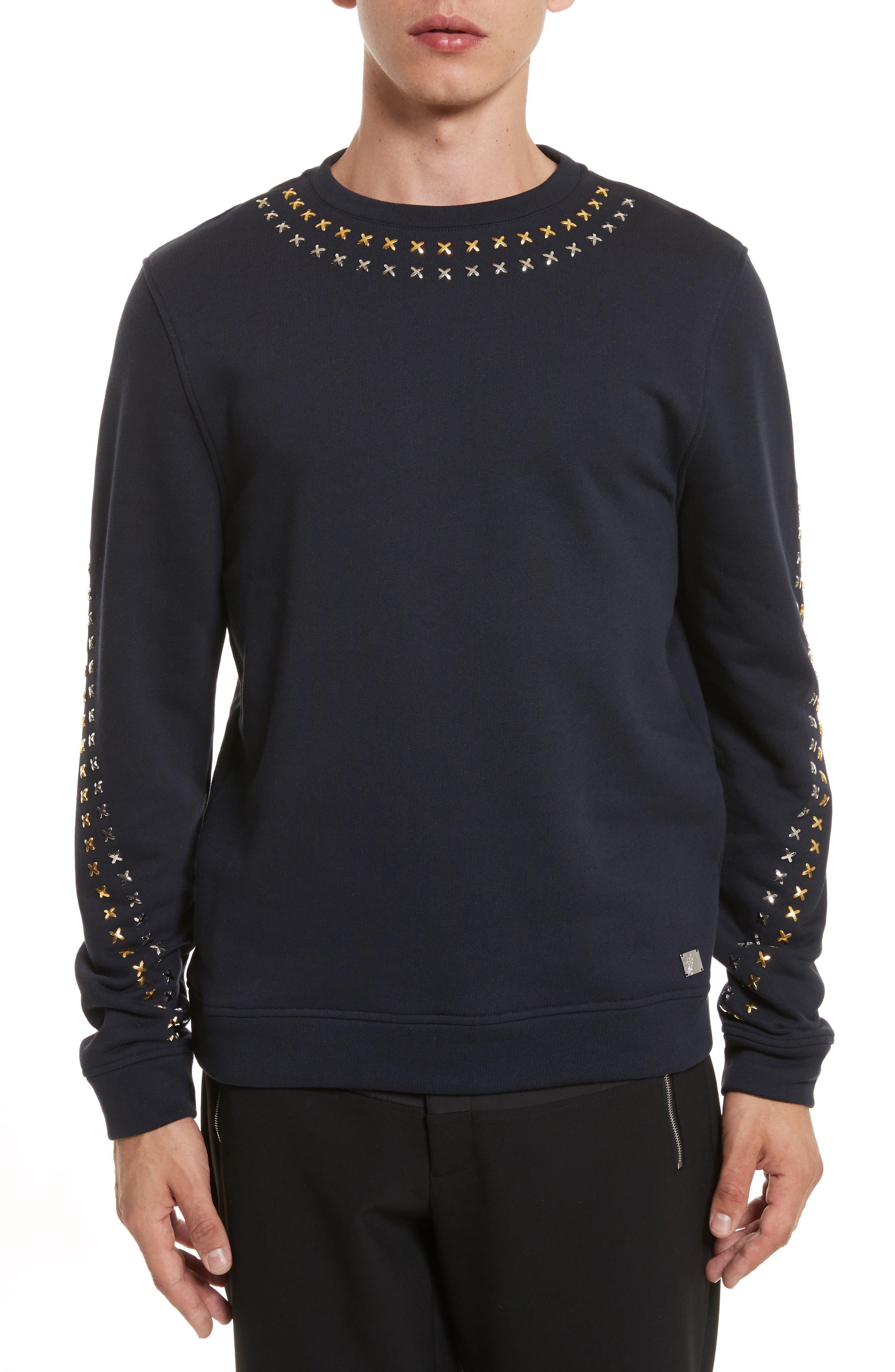 Studded Crewneck Sweatshirt,                         Main,                         color, Navy