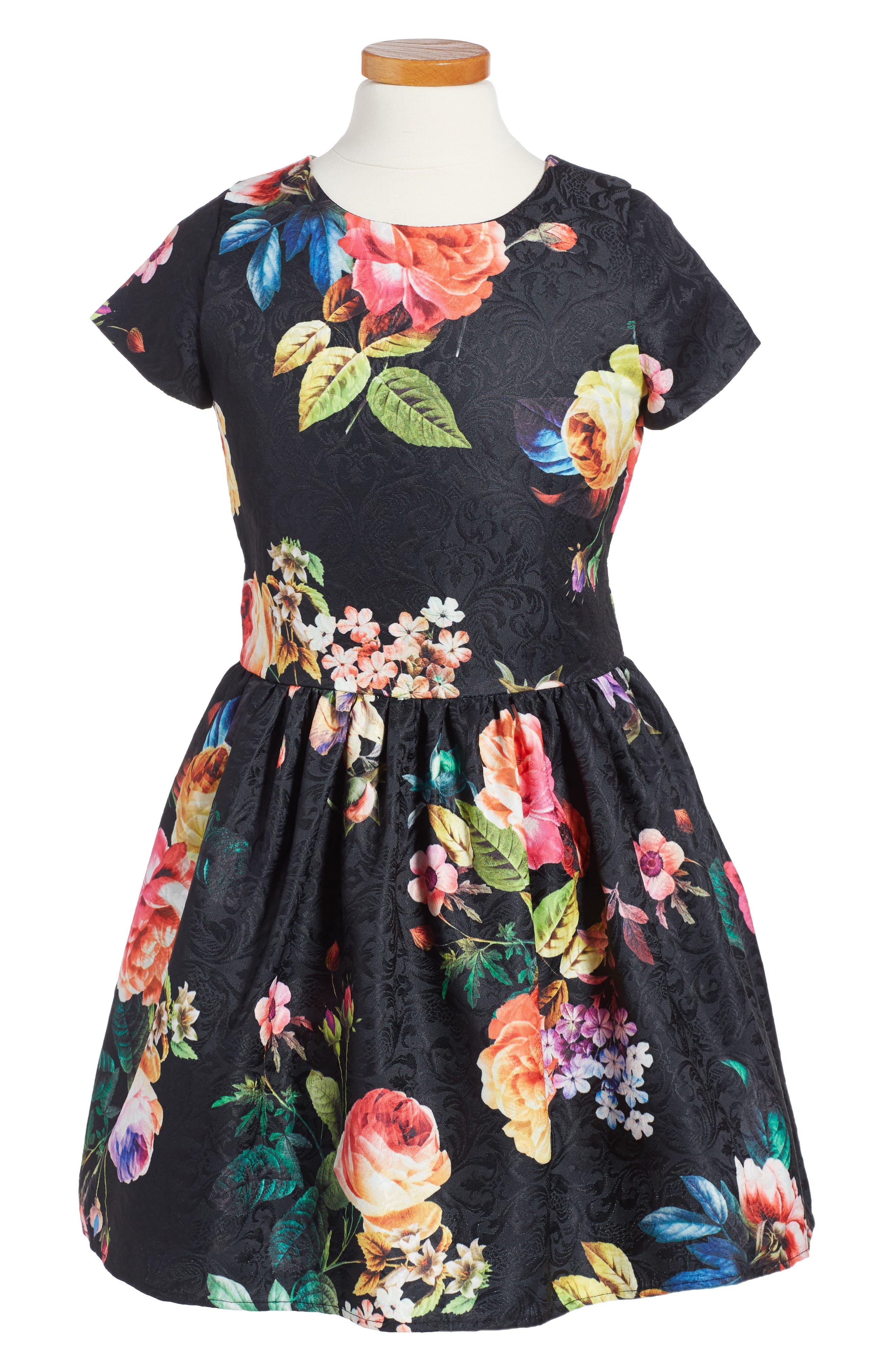 Floral Brocade Dress,                         Main,                         color, Black Multi