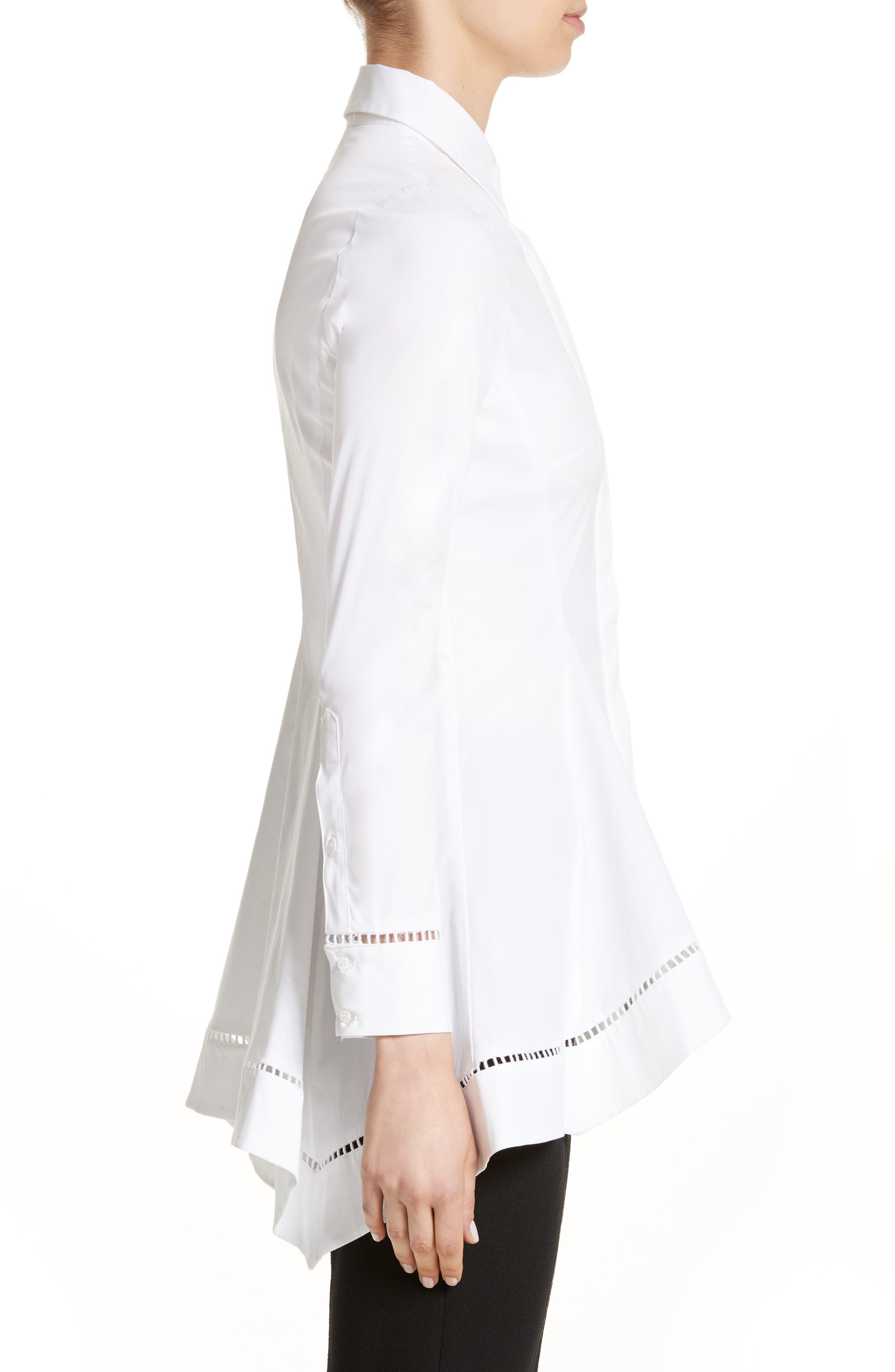 Peplum Shirt,                             Alternate thumbnail 3, color,                             White