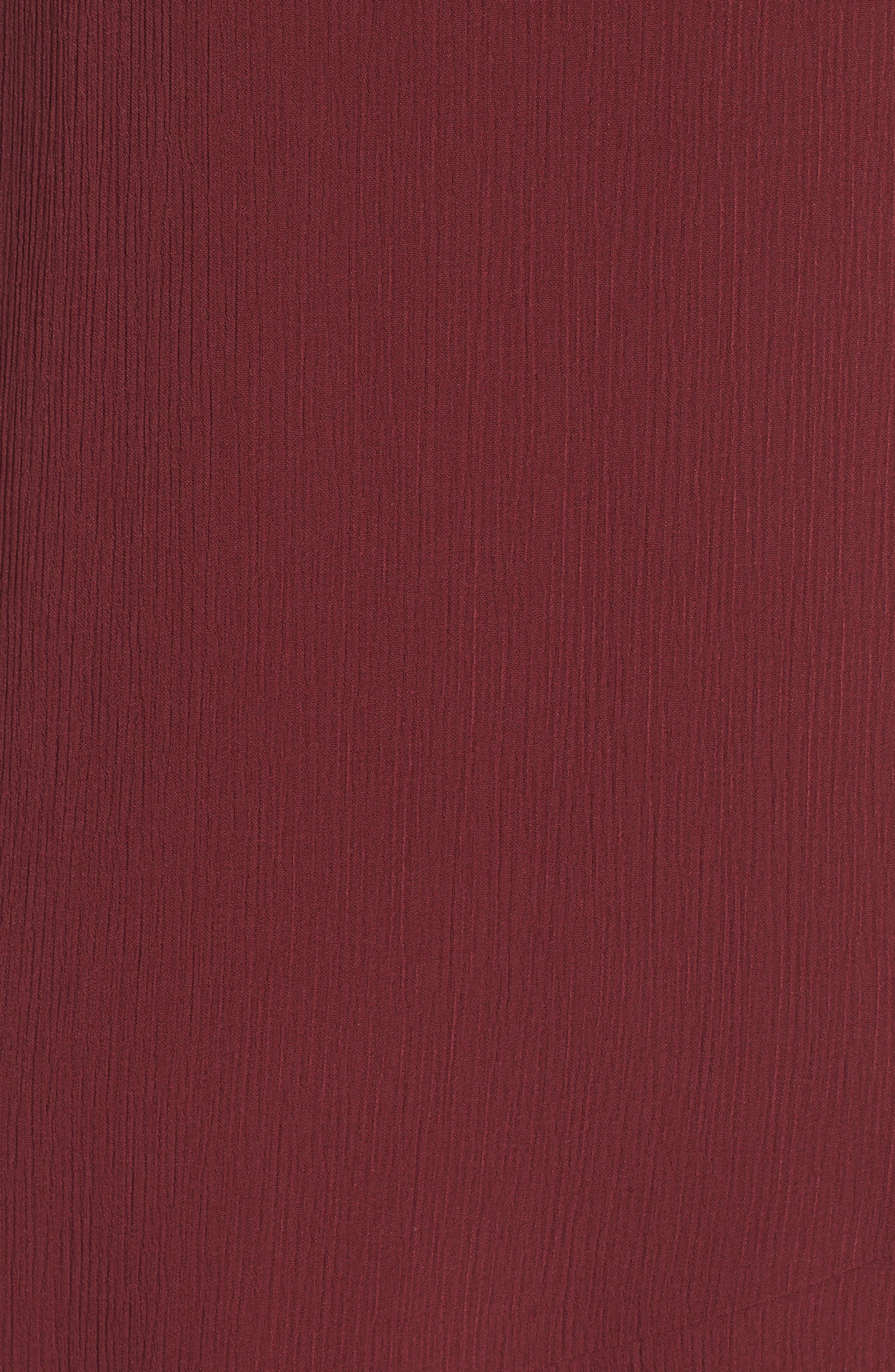 Asymmetrical Ruffle Hem Dress,                             Alternate thumbnail 5, color,                             Red Tannin