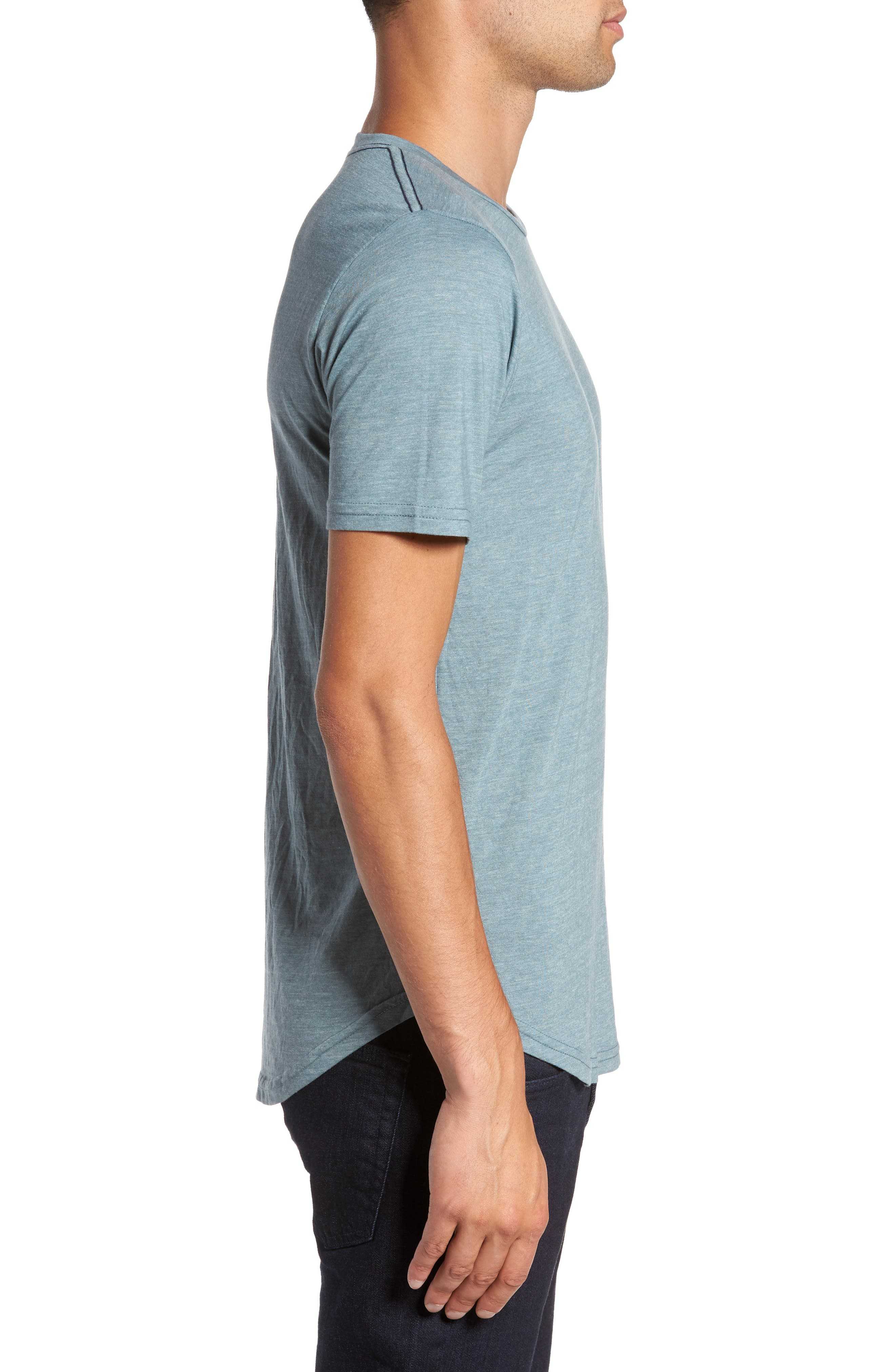 Scallop Triblend Crewneck T-Shirt,                             Alternate thumbnail 3, color,                             Real Teal