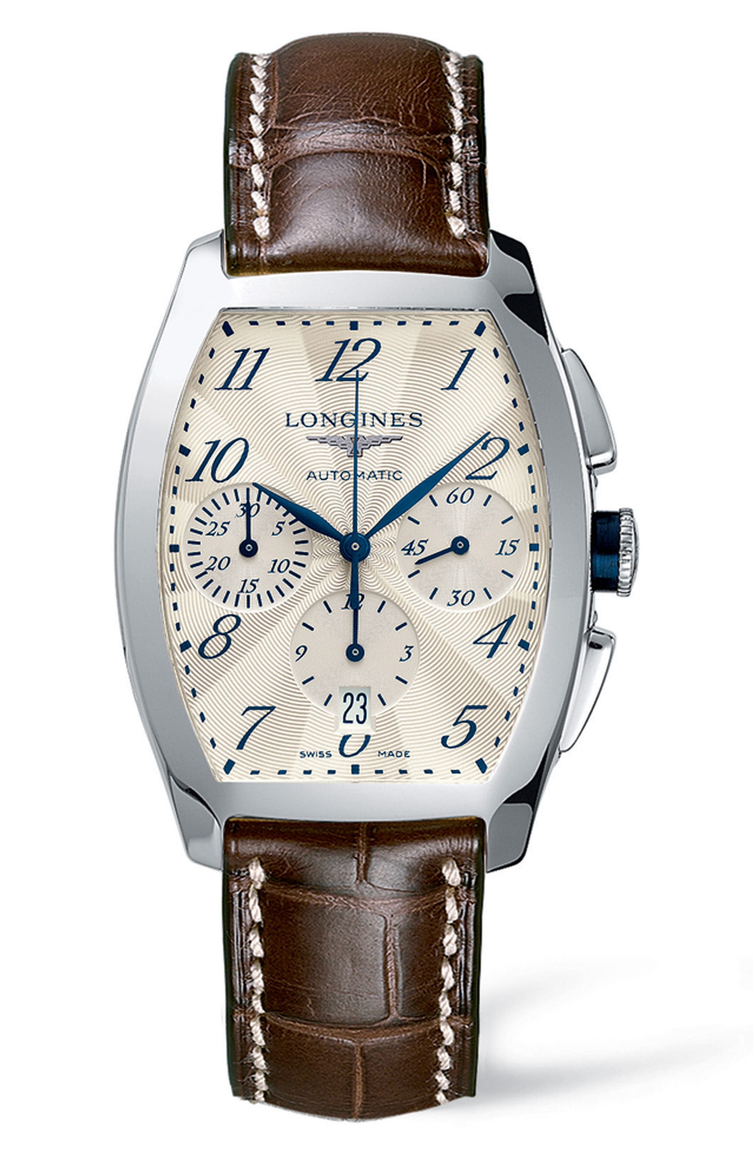 Evidenza Automatic Chronograph Leather Strap Watch, 34.9mm x 40mm,                         Main,                         color, Brown/Silver