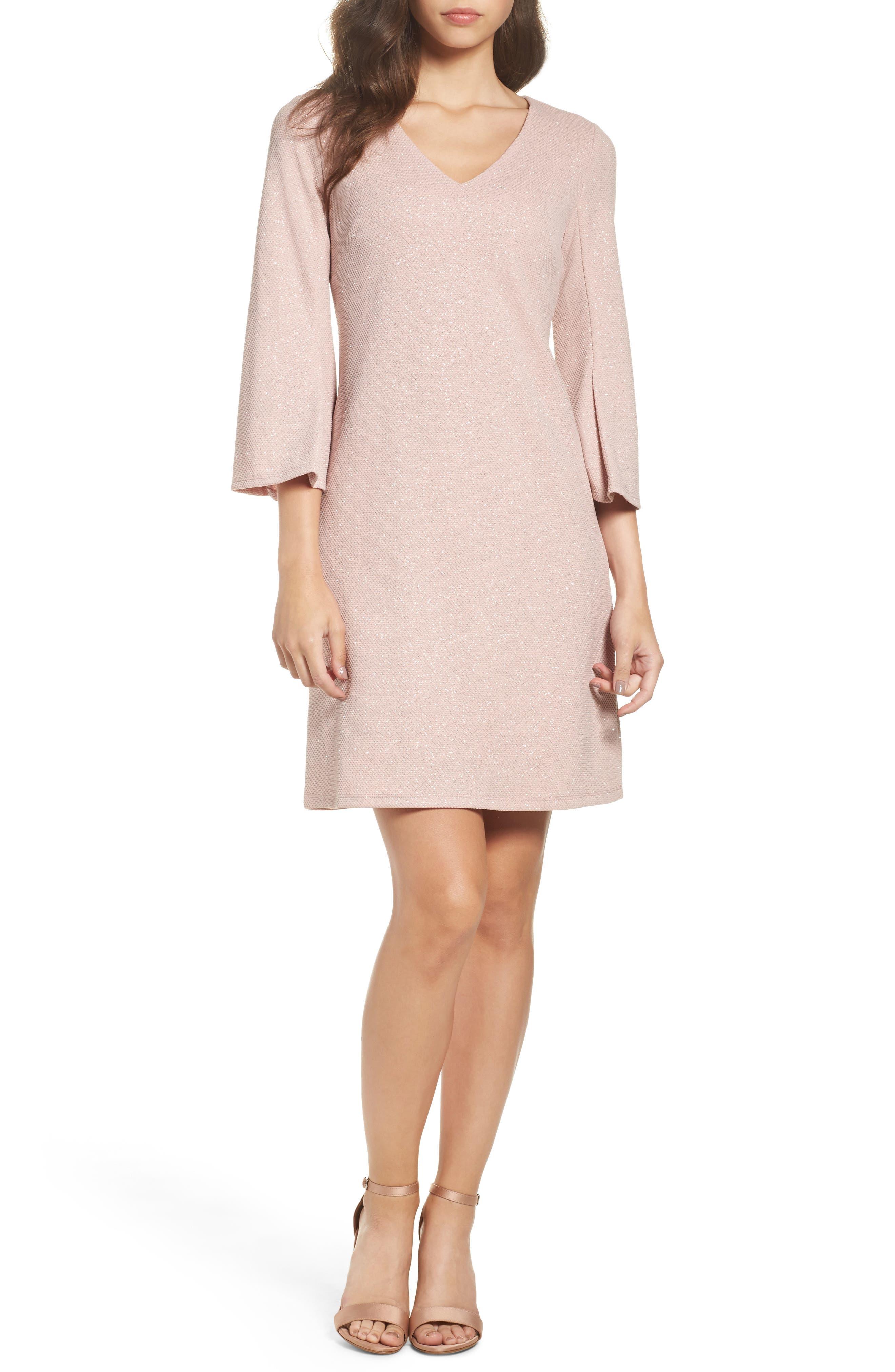 Bell Sleeve Shift Dress,                             Main thumbnail 1, color,                             Blush