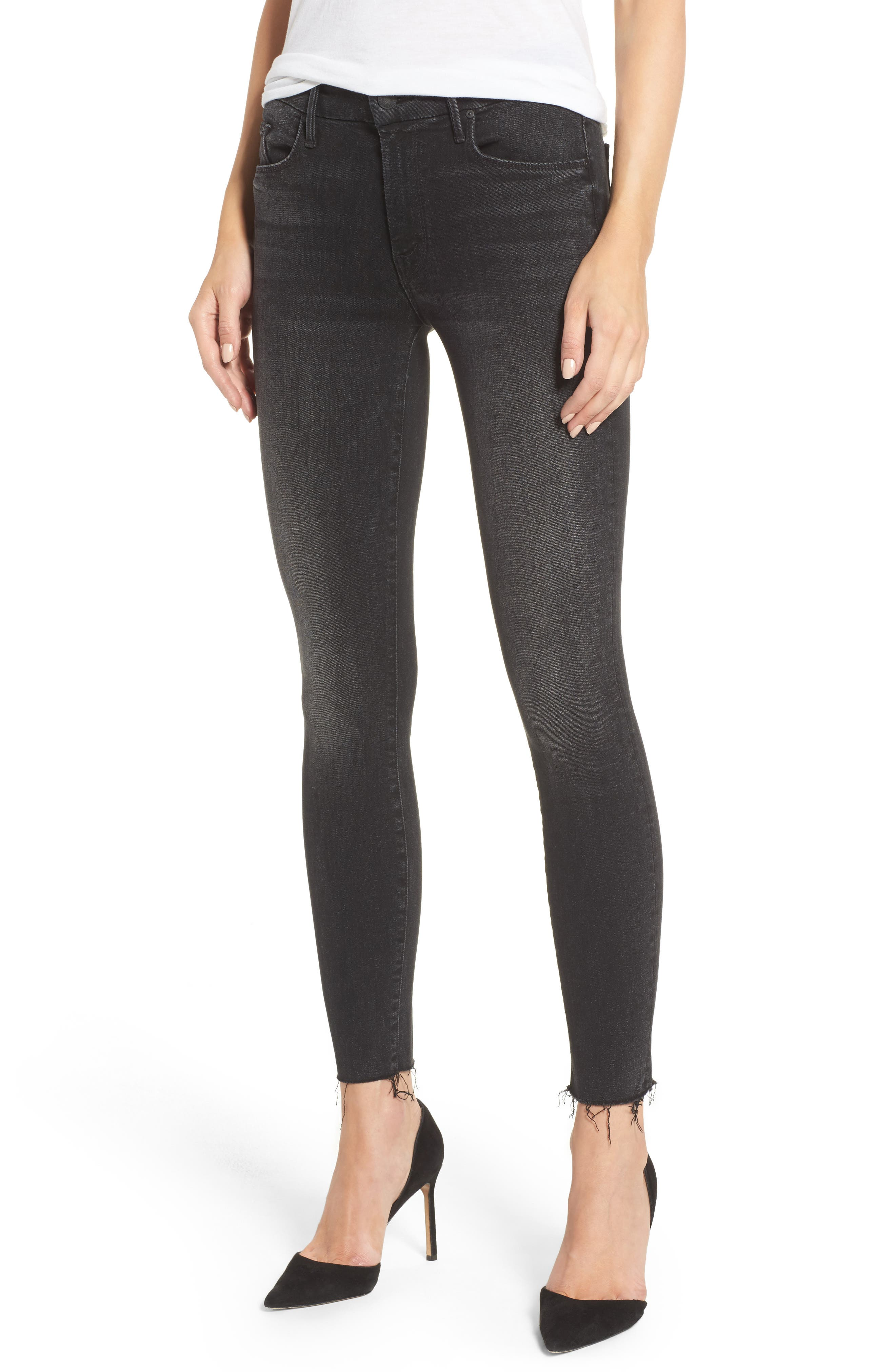 Main Image - MOTHER The Looker Frayed Ankle Jeans (Night Hawk)