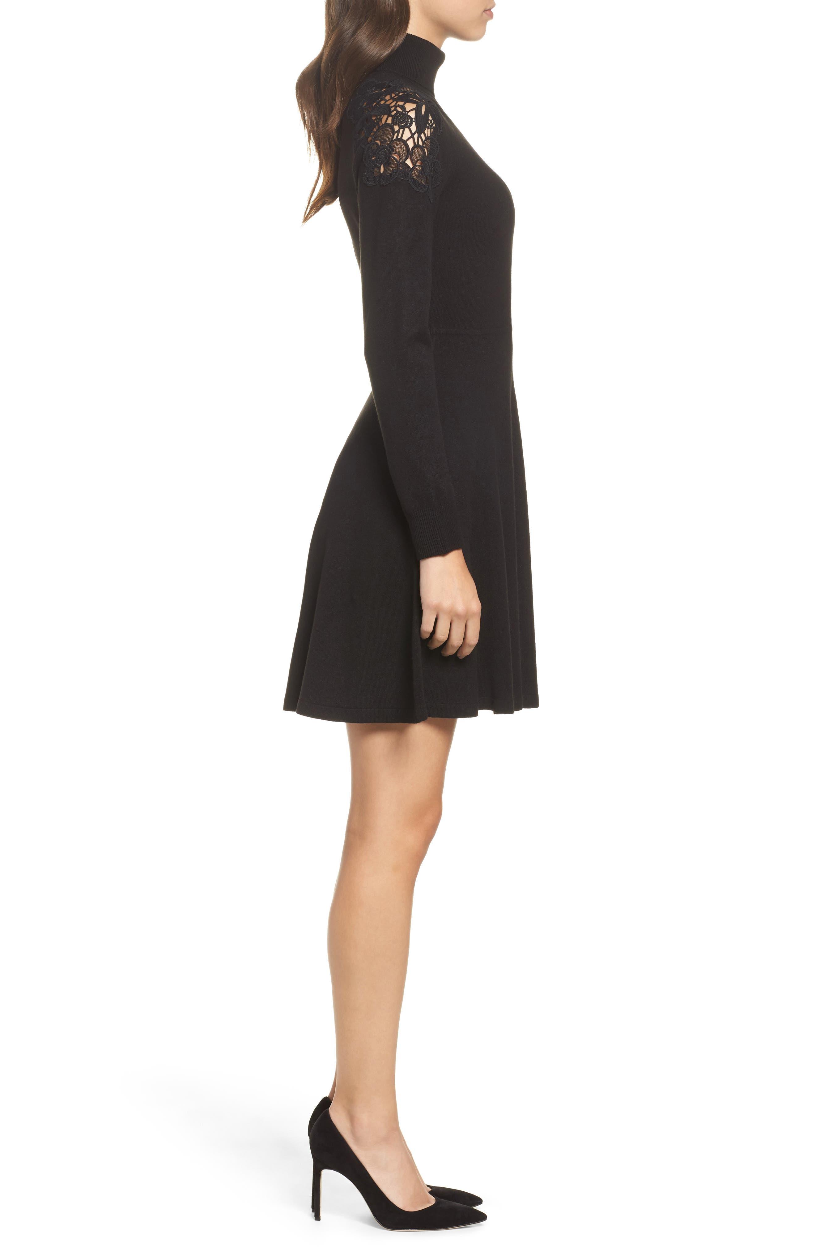 Alternate Image 3  - Eliza J Lace Shoulder Turtleneck Sweater Dress