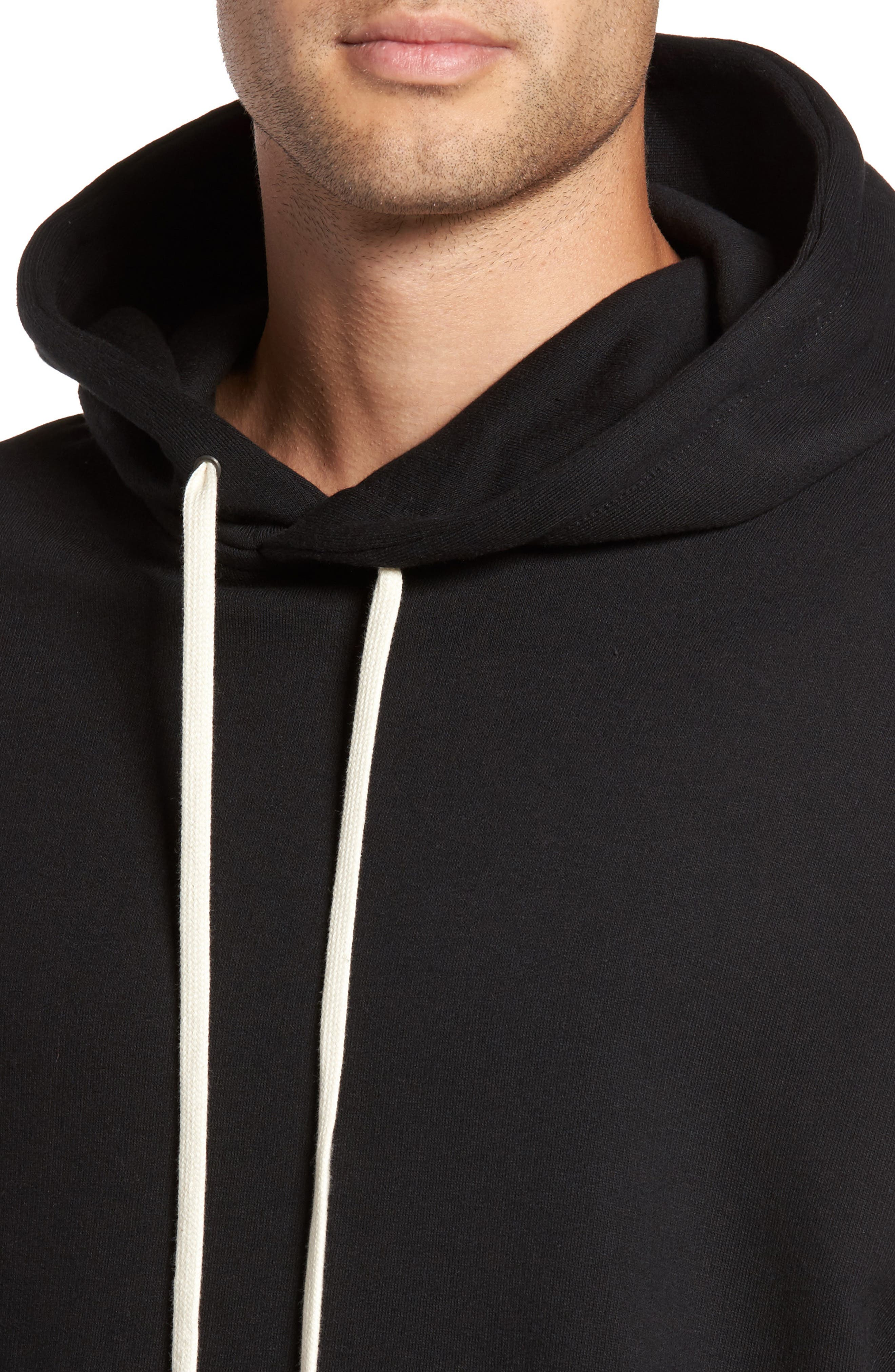 Relaxed Fit Hoodie,                             Alternate thumbnail 4, color,                             Black