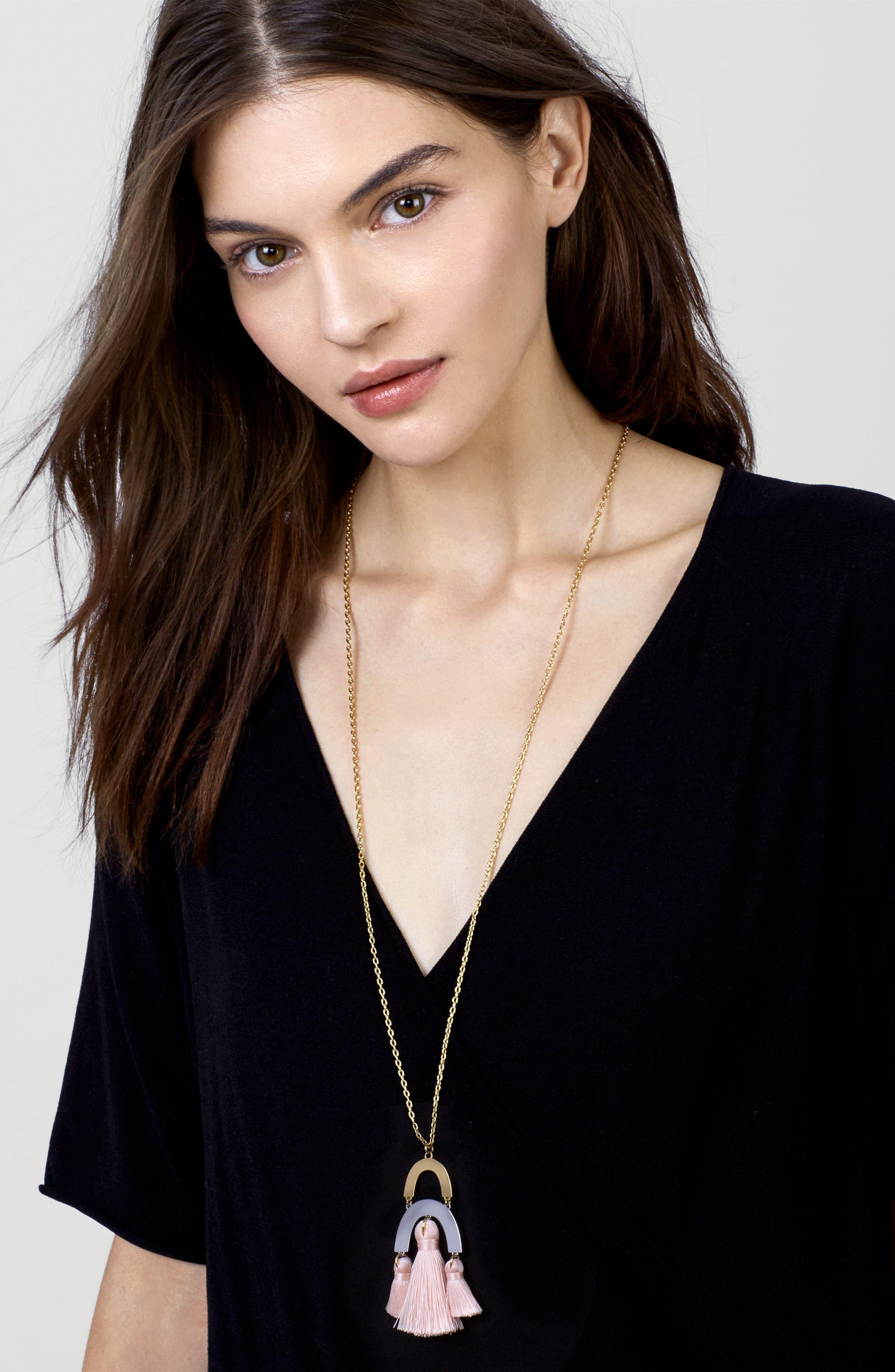 BuableBar Shamia Tassel Pendant Necklace,                         Main,                         color, Blush