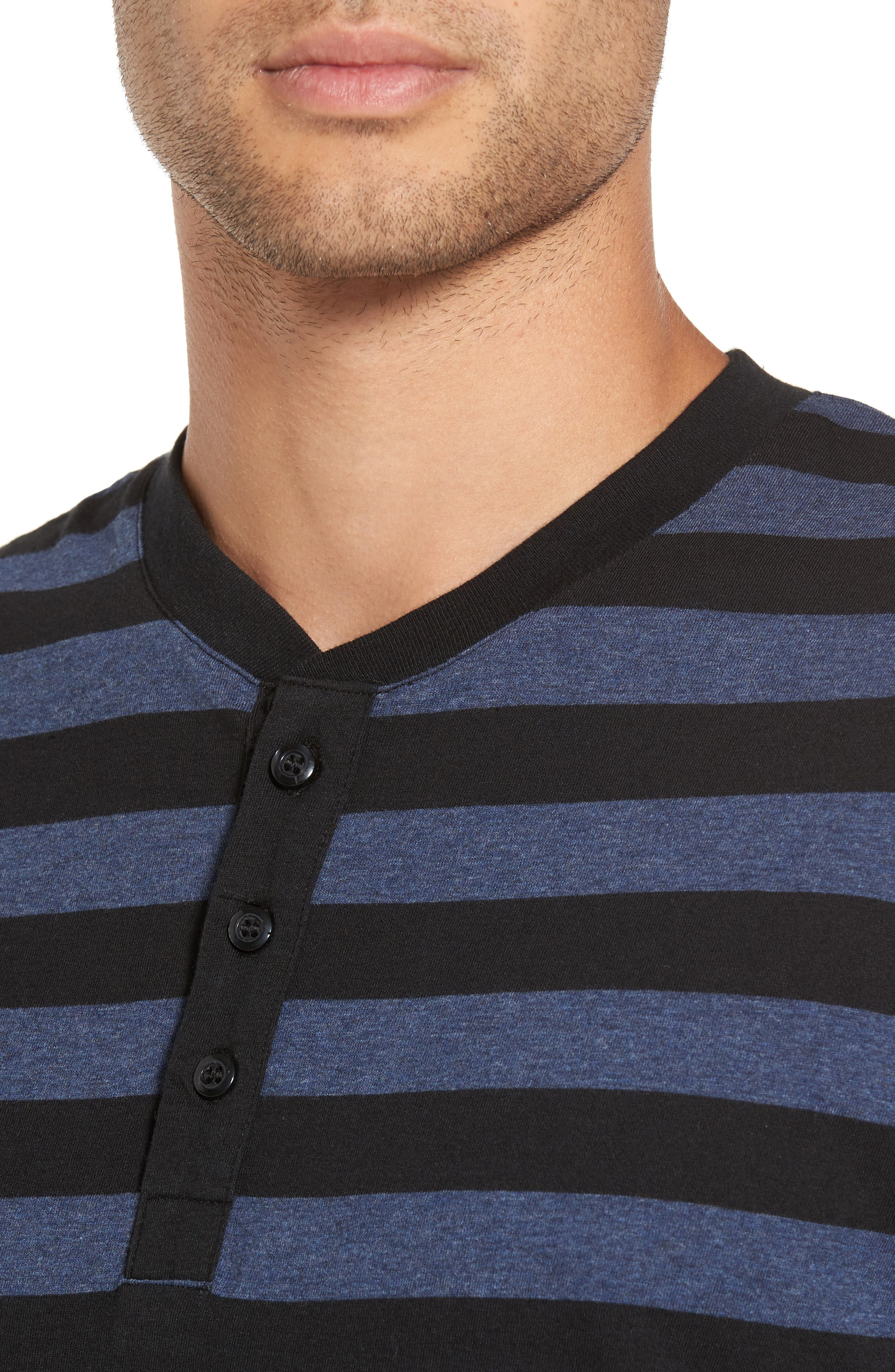 Striped Long Sleeve Henley T-Shirt,                             Alternate thumbnail 4, color,                             Heather Blue/ Black Stripe