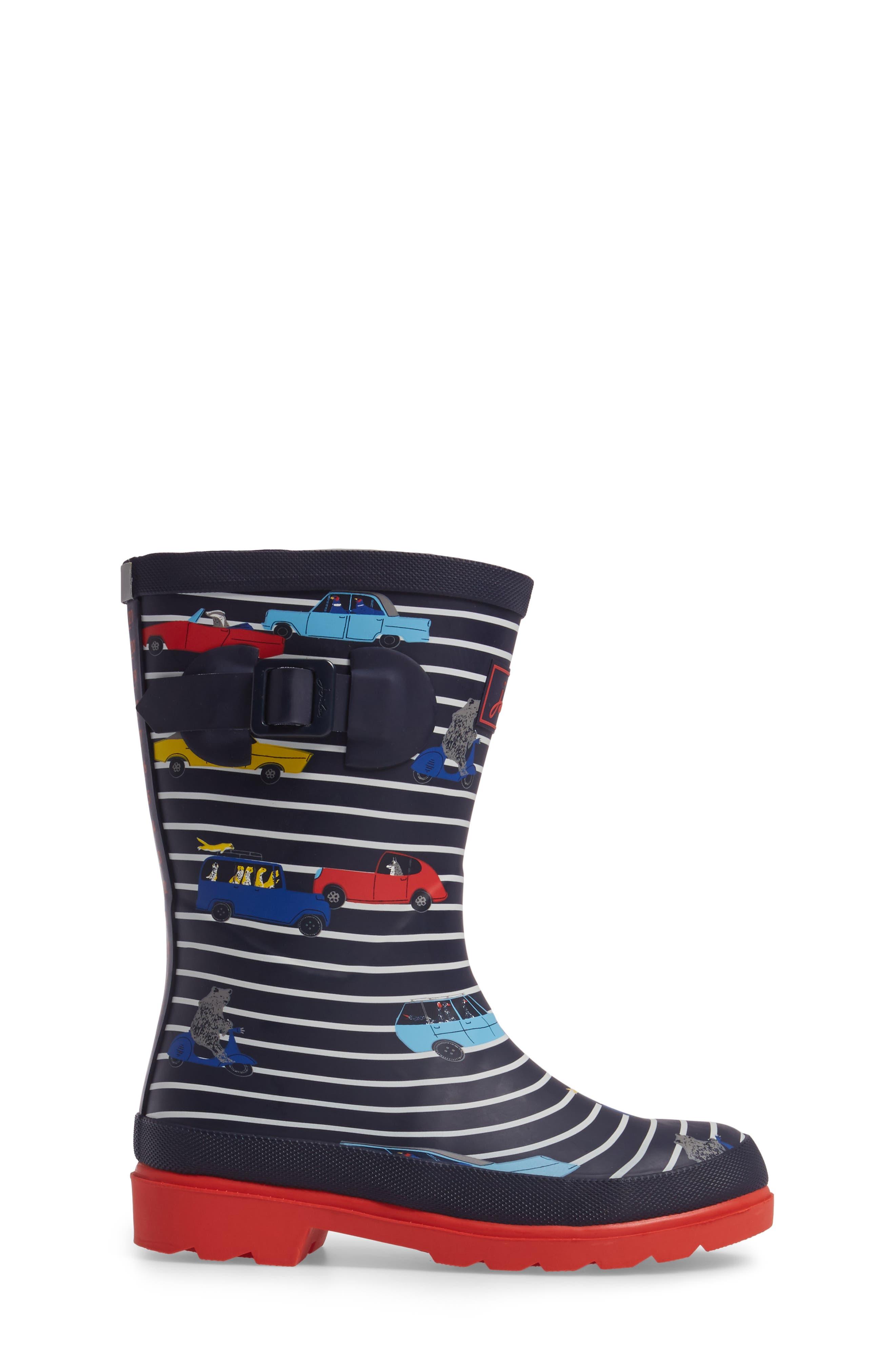 Printed Waterproof Rain Boot,                             Alternate thumbnail 3, color,                             Navy Stripe Cars