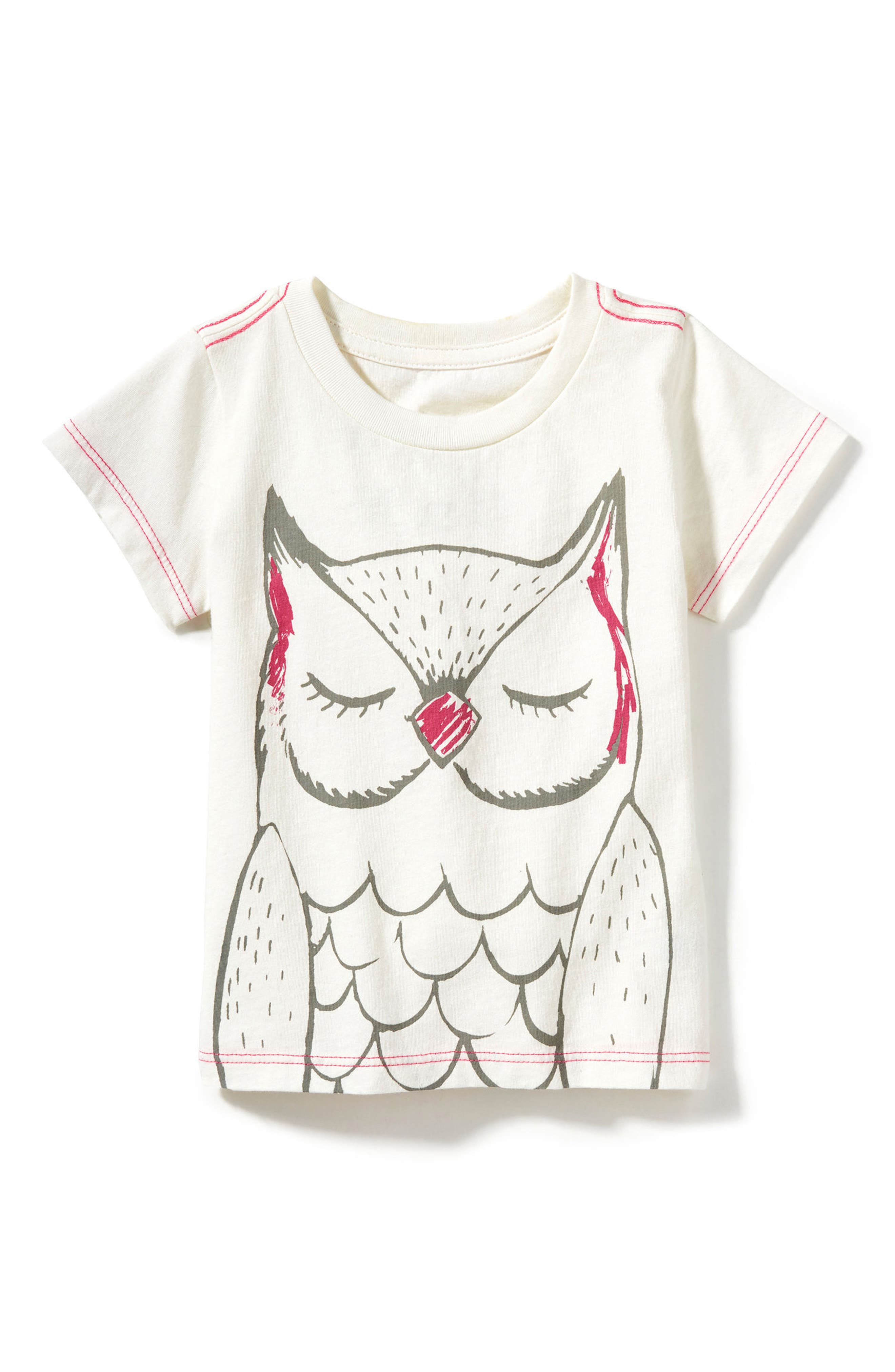 Peek Owl Graphic Tee,                             Main thumbnail 1, color,                             Cream