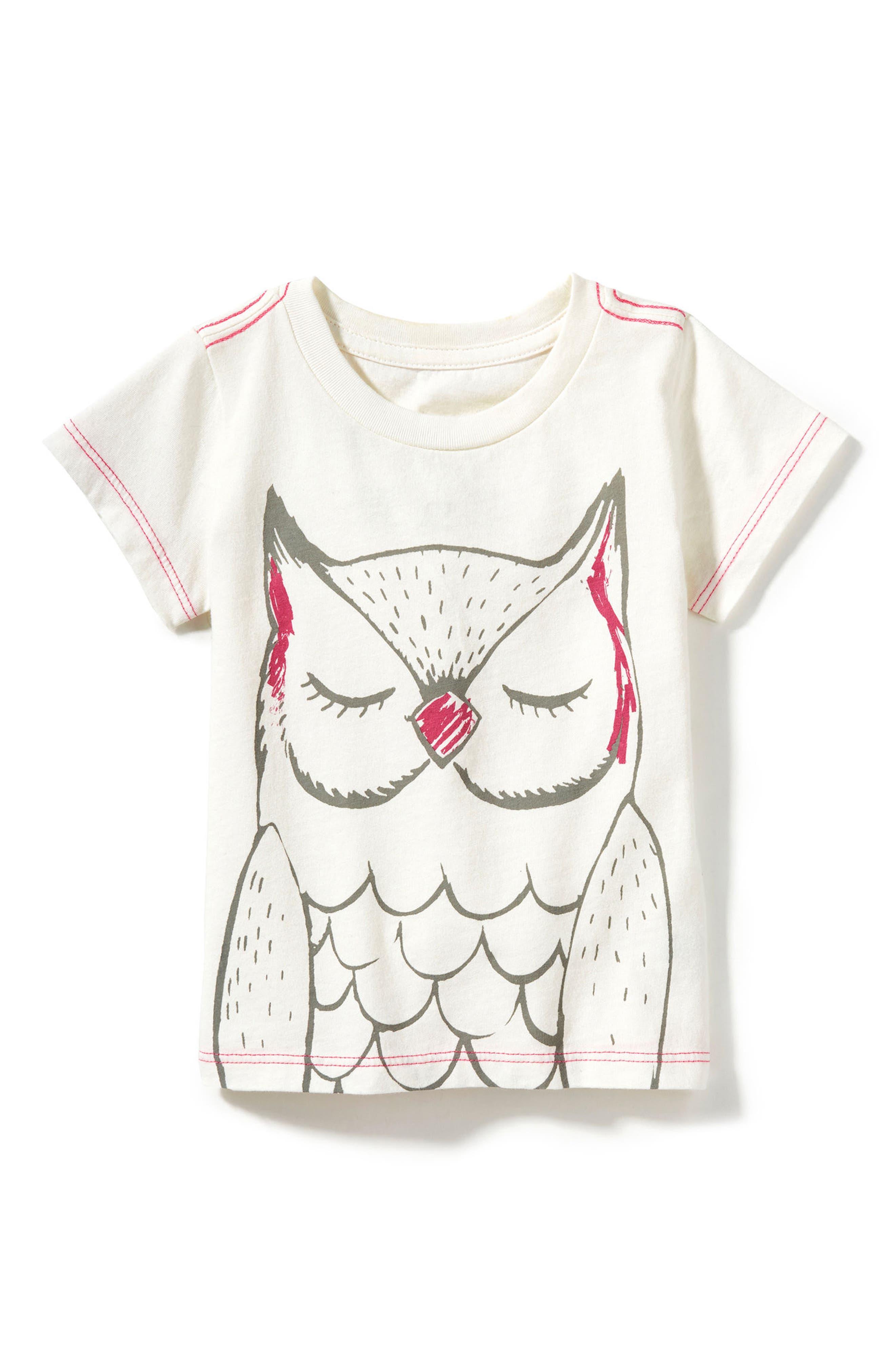 Main Image - Peek Owl Graphic Tee (Baby Girls)