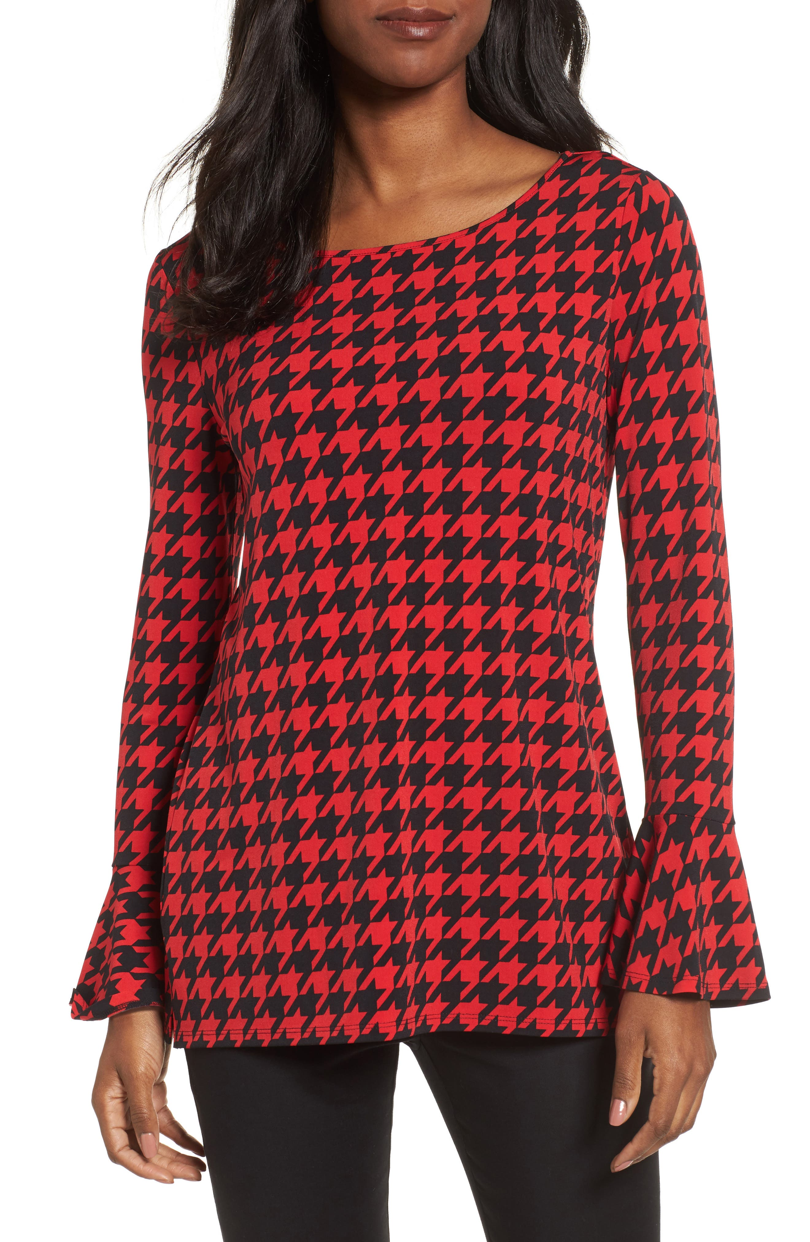 Houndstooth Trumpet Sleeve Top,                         Main,                         color, Rouge