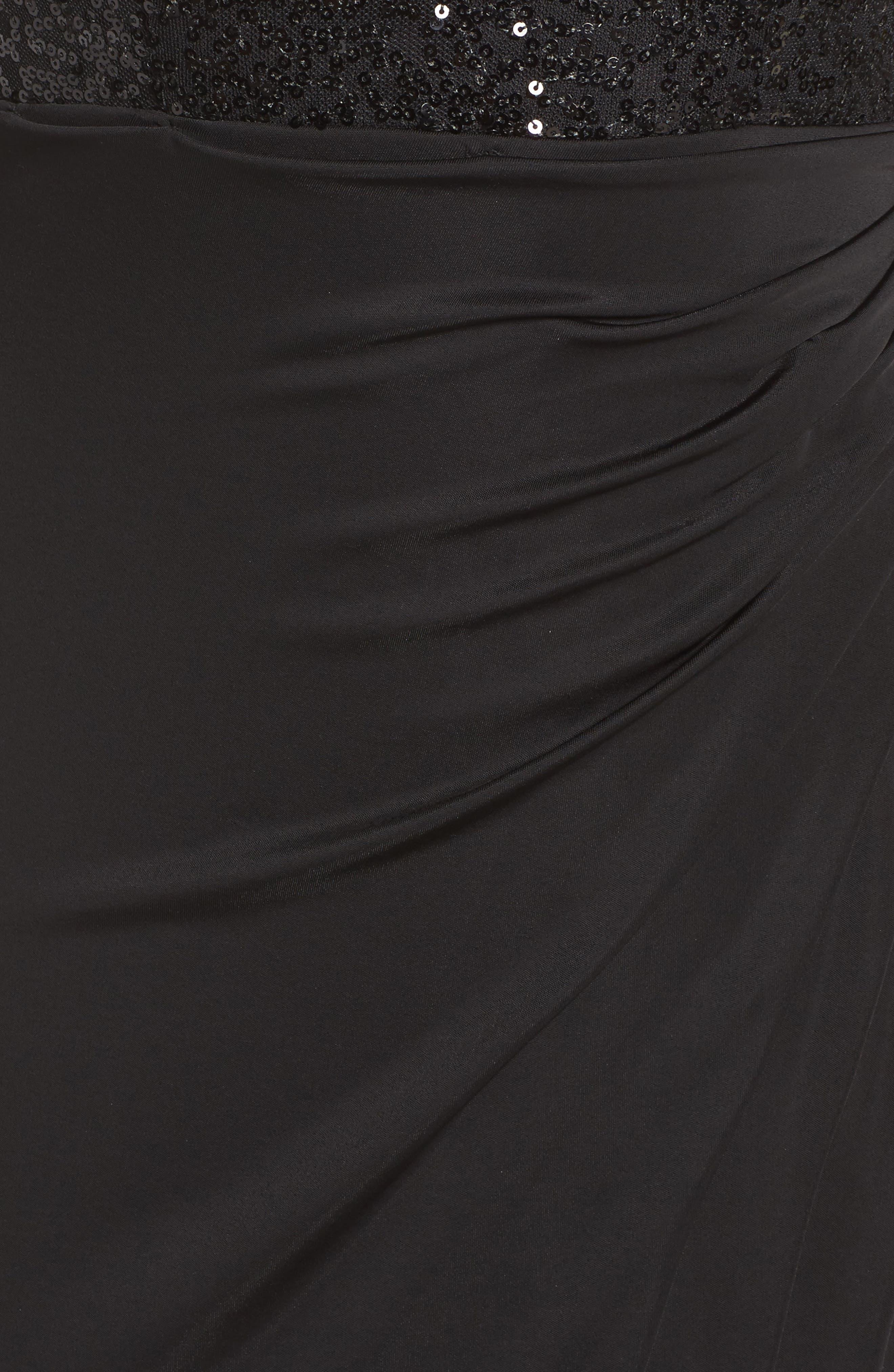 Sequin & Jersey Gown,                             Alternate thumbnail 5, color,                             Black