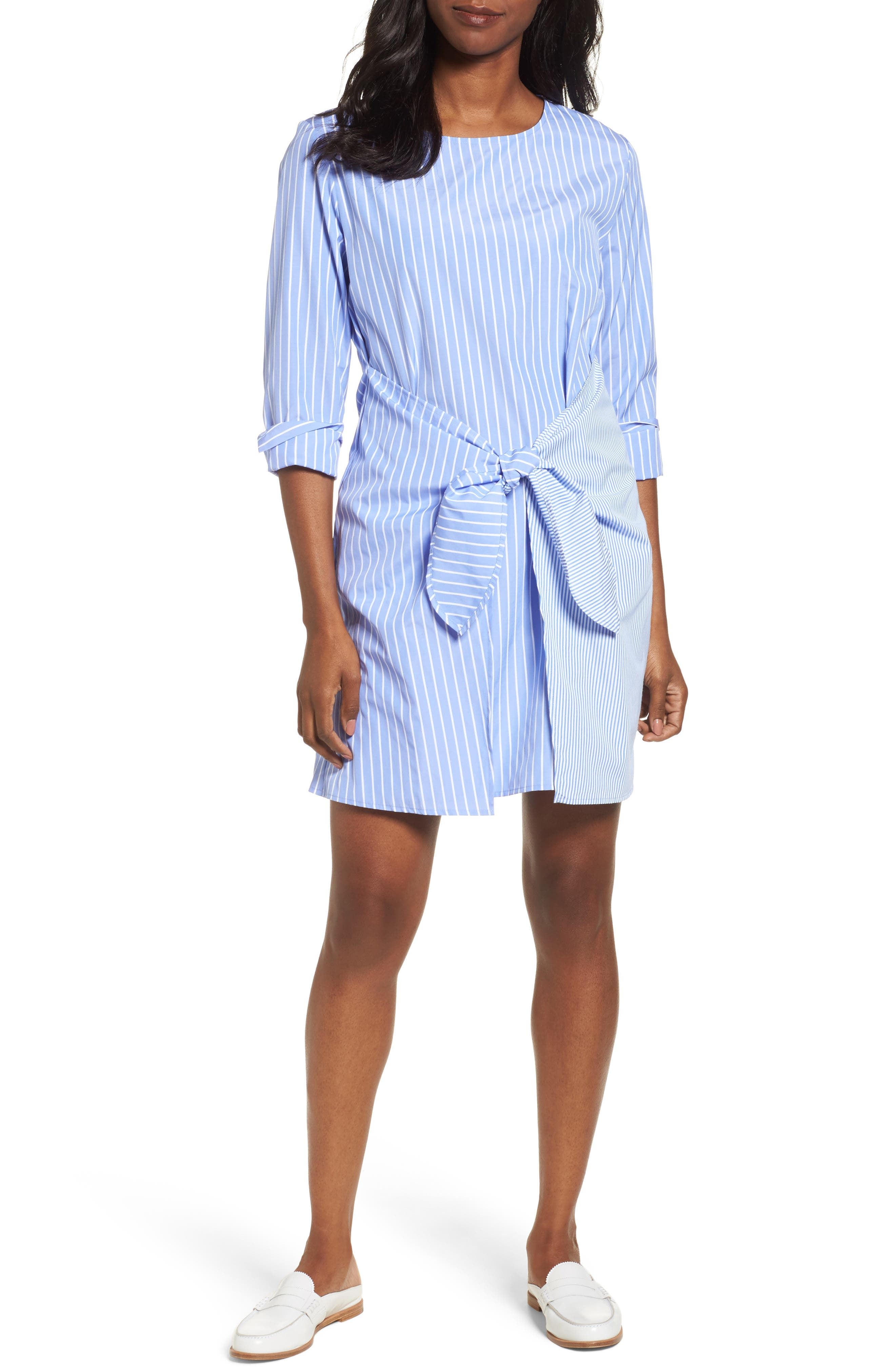 Pleione Mix Stripe Tie Front Shift Dress