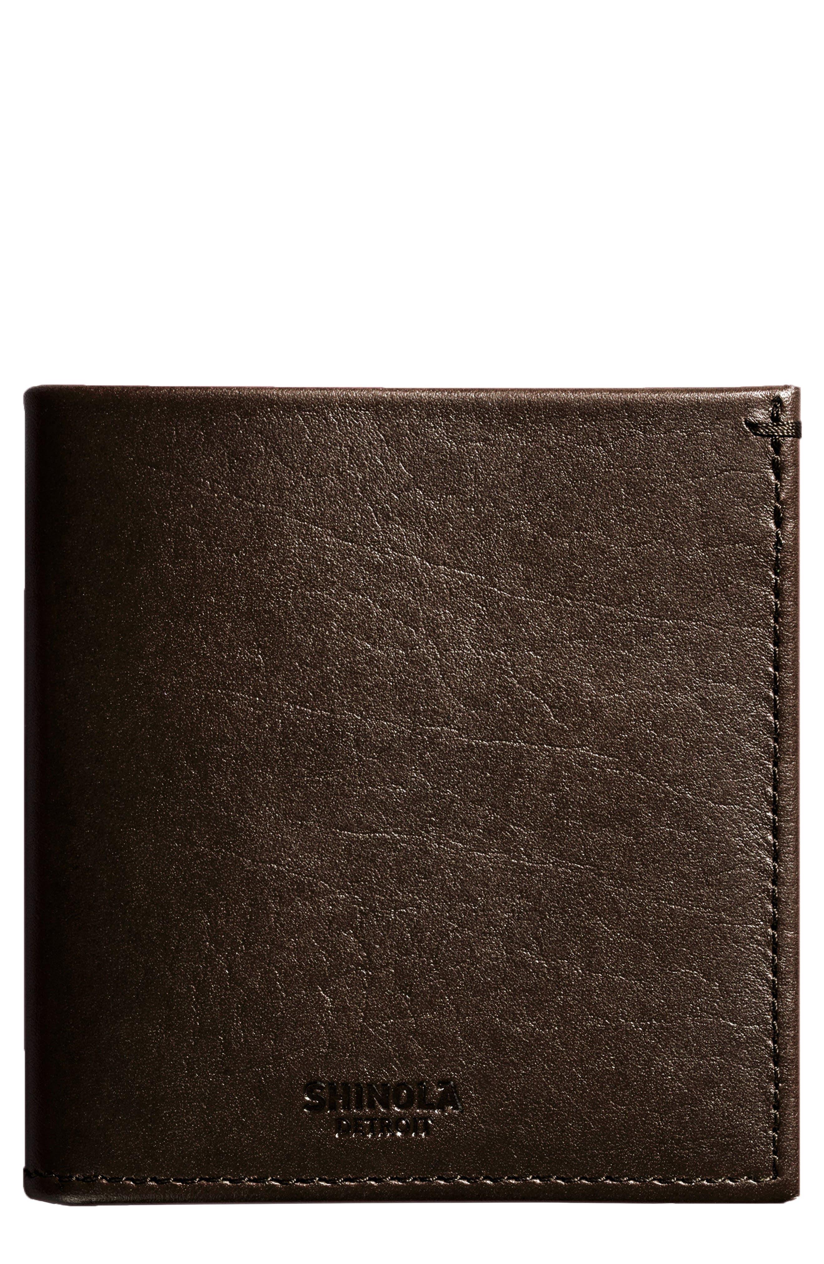 Main Image - Shinola Square Bifold Leather Wallet