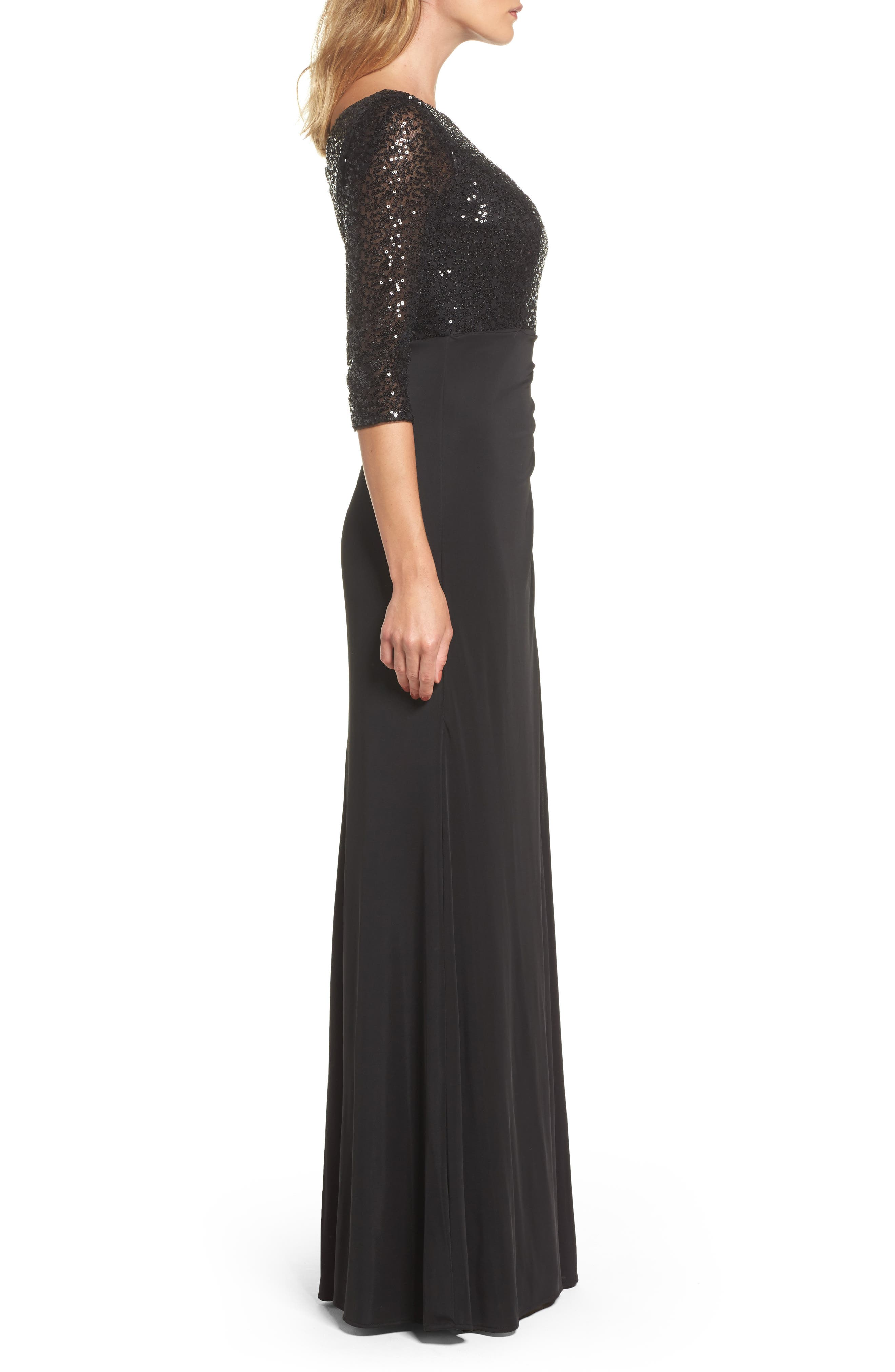 Sequin & Jersey Gown,                             Alternate thumbnail 3, color,                             Black