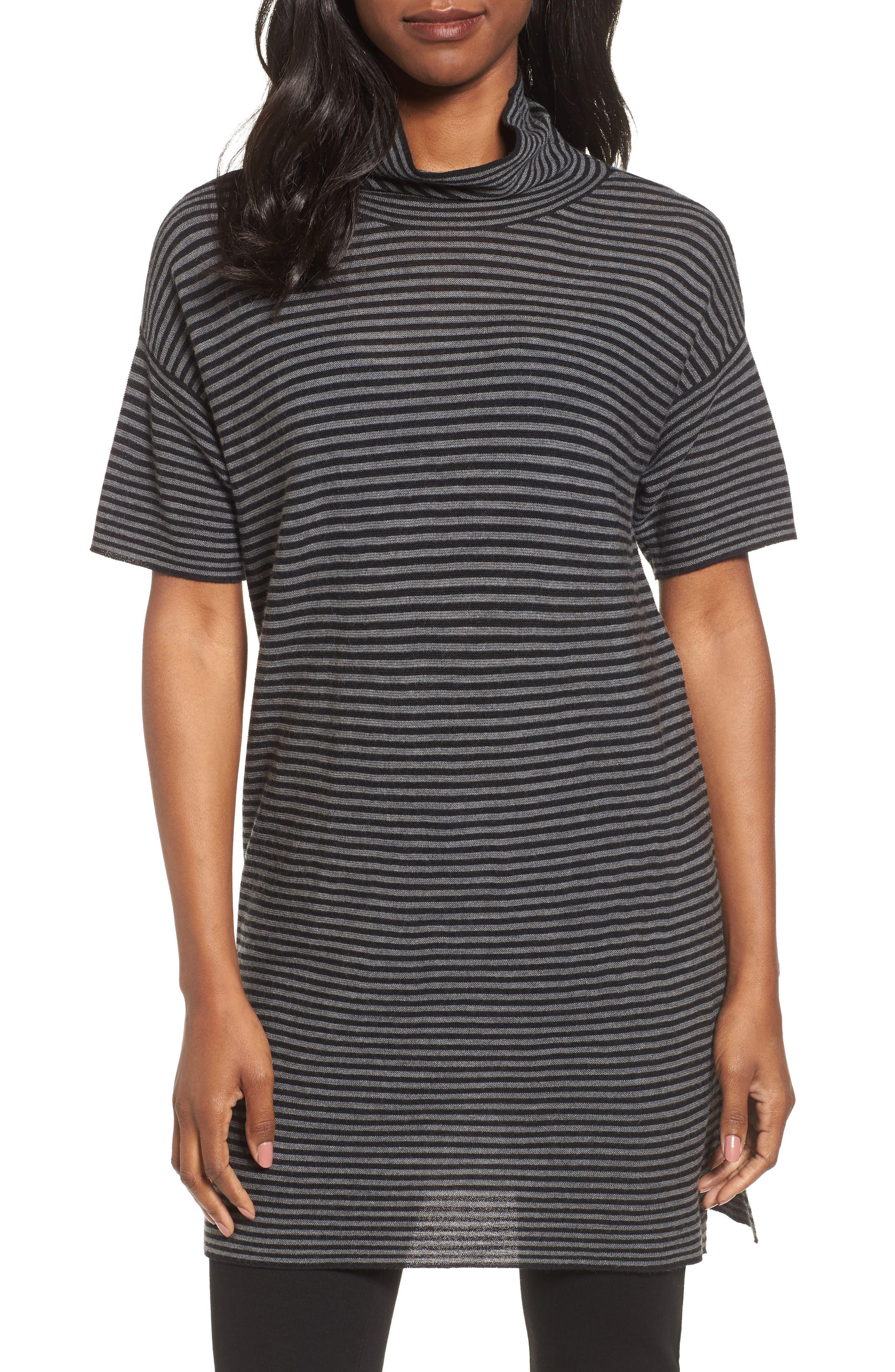 Eileen Fisher Stripe Merino Wool Tunic (Regular & Petite)