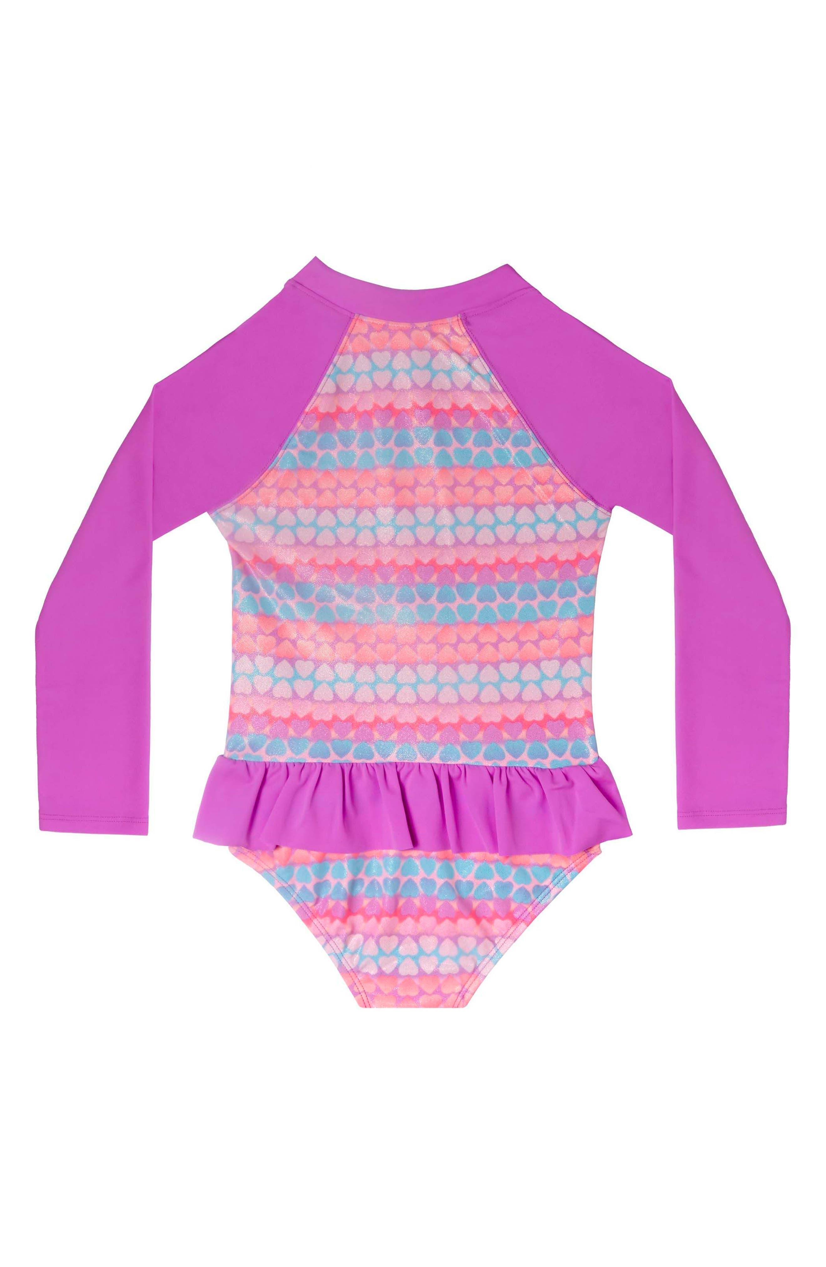 Hearts Galore One-Piece Rashguard Swimsuit,                             Alternate thumbnail 2, color,                             Purple Multi
