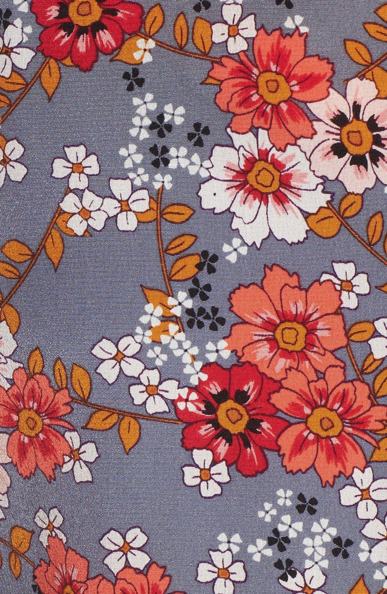 Larchmont Blooms Silk Shirtdress,                             Alternate thumbnail 5, color,                             Slate Swirl Larchmonth Blooms