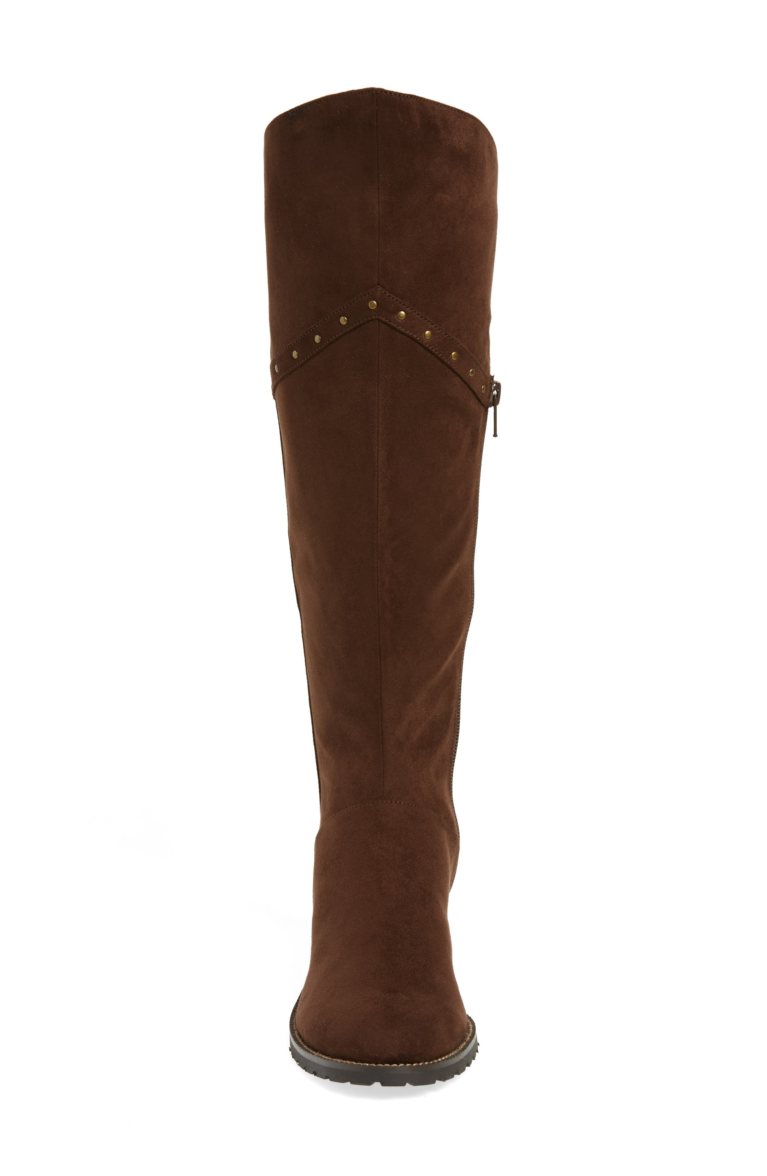 Alanis II Tall Boot,                             Alternate thumbnail 4, color,                             Brown Suede