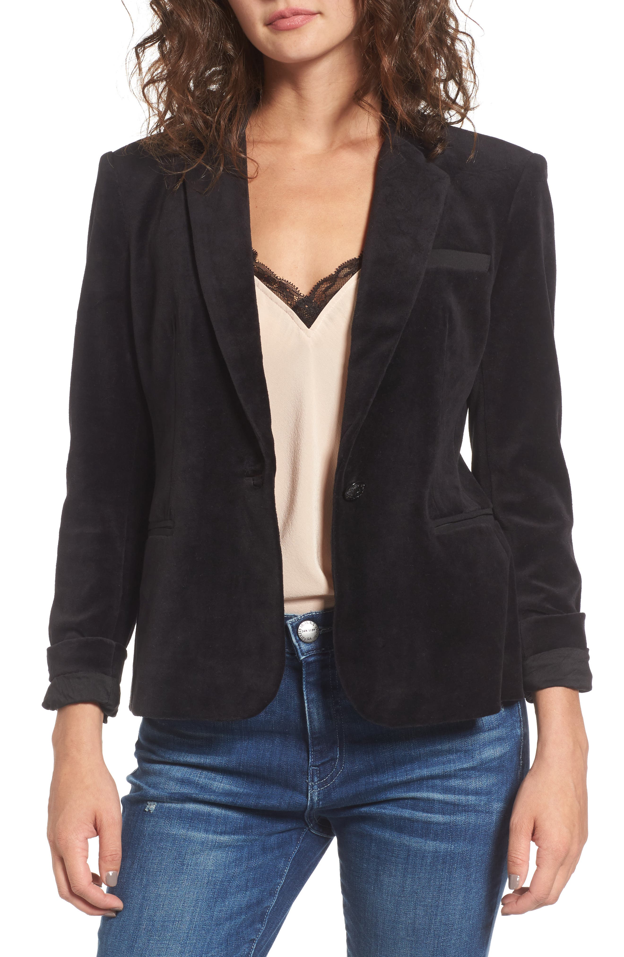 Alternate Image 1 Selected - Juicy Couture Track Velour Blazer