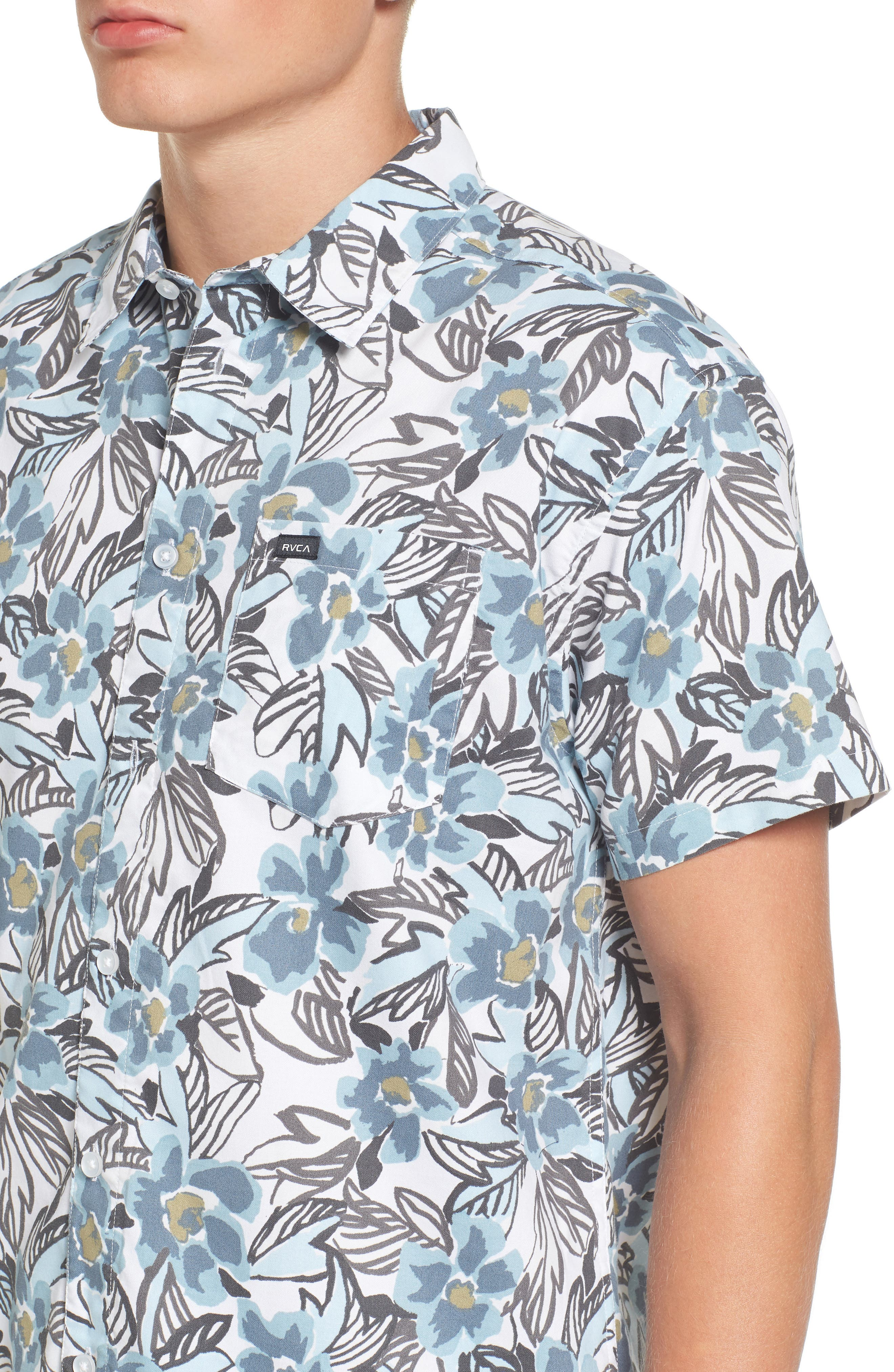 Paradise Valley Floral Woven Shirt,                             Alternate thumbnail 4, color,                             Cosmos
