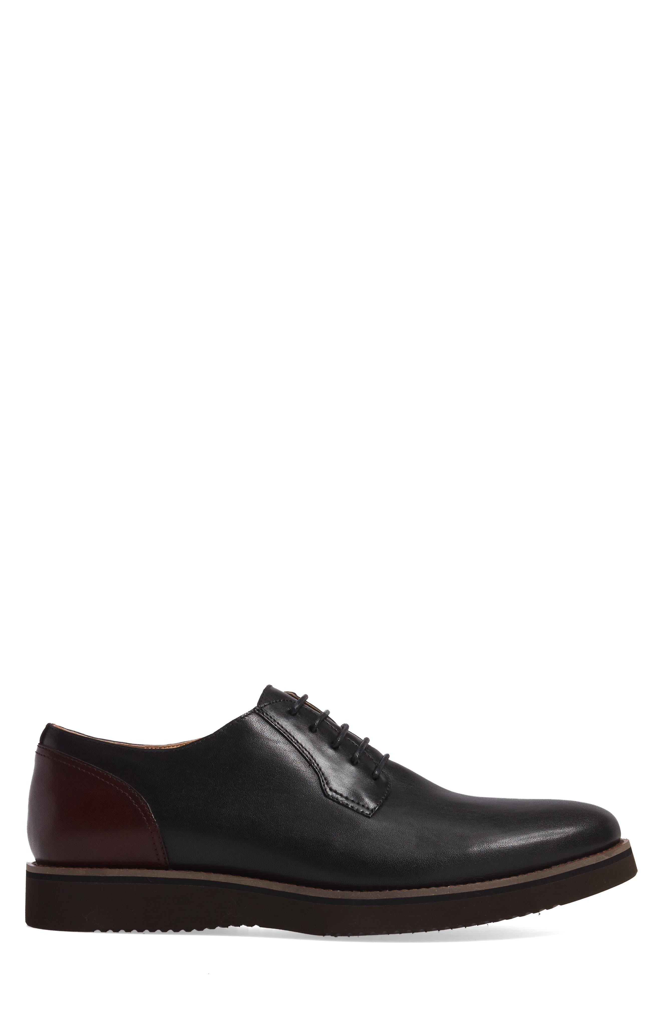 Saxon Plain Toe Derby,                             Alternate thumbnail 3, color,                             Black Leather
