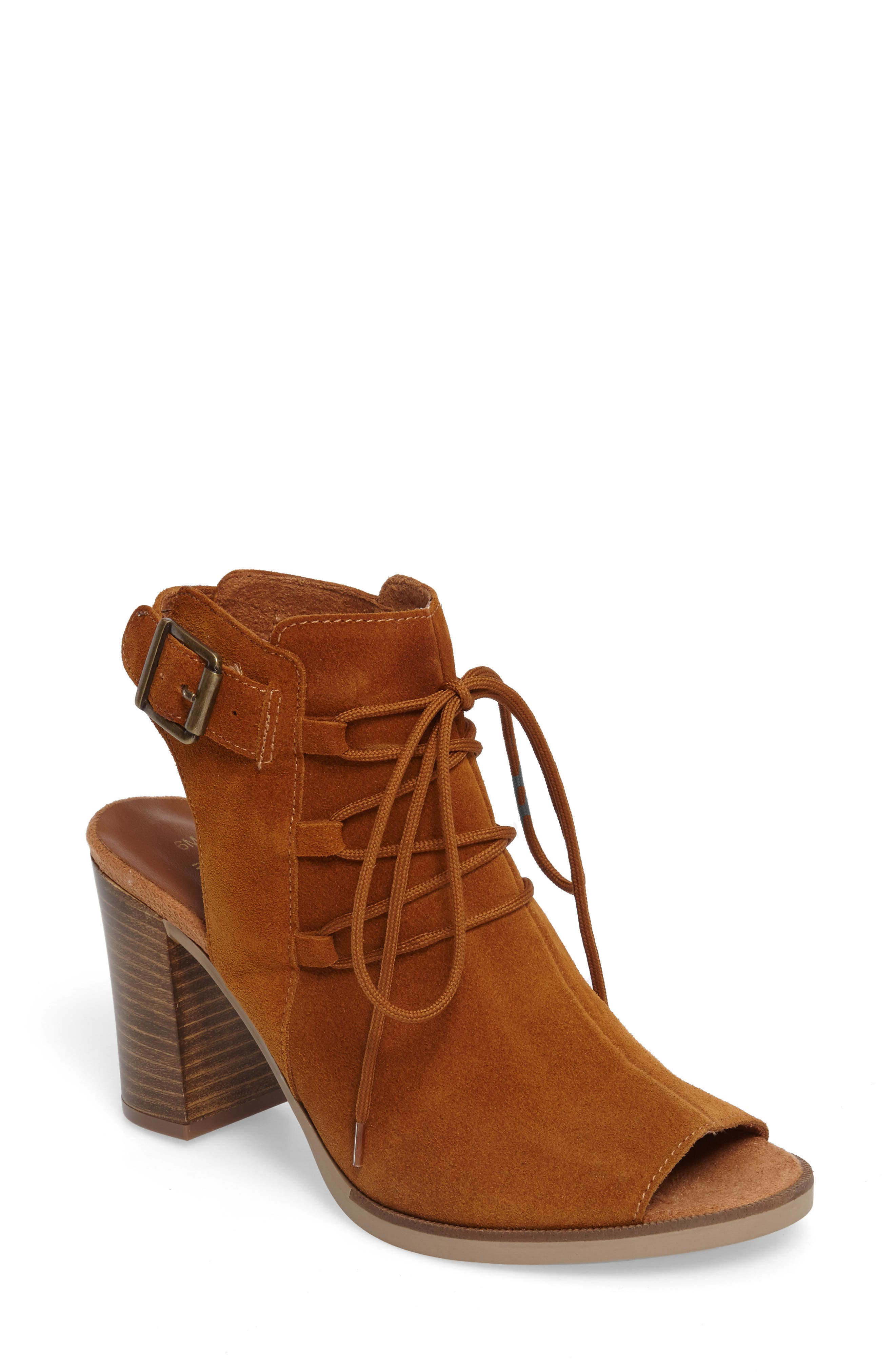 Bella Vita Pru Lace-Up Peep Toe Bootie (Women)