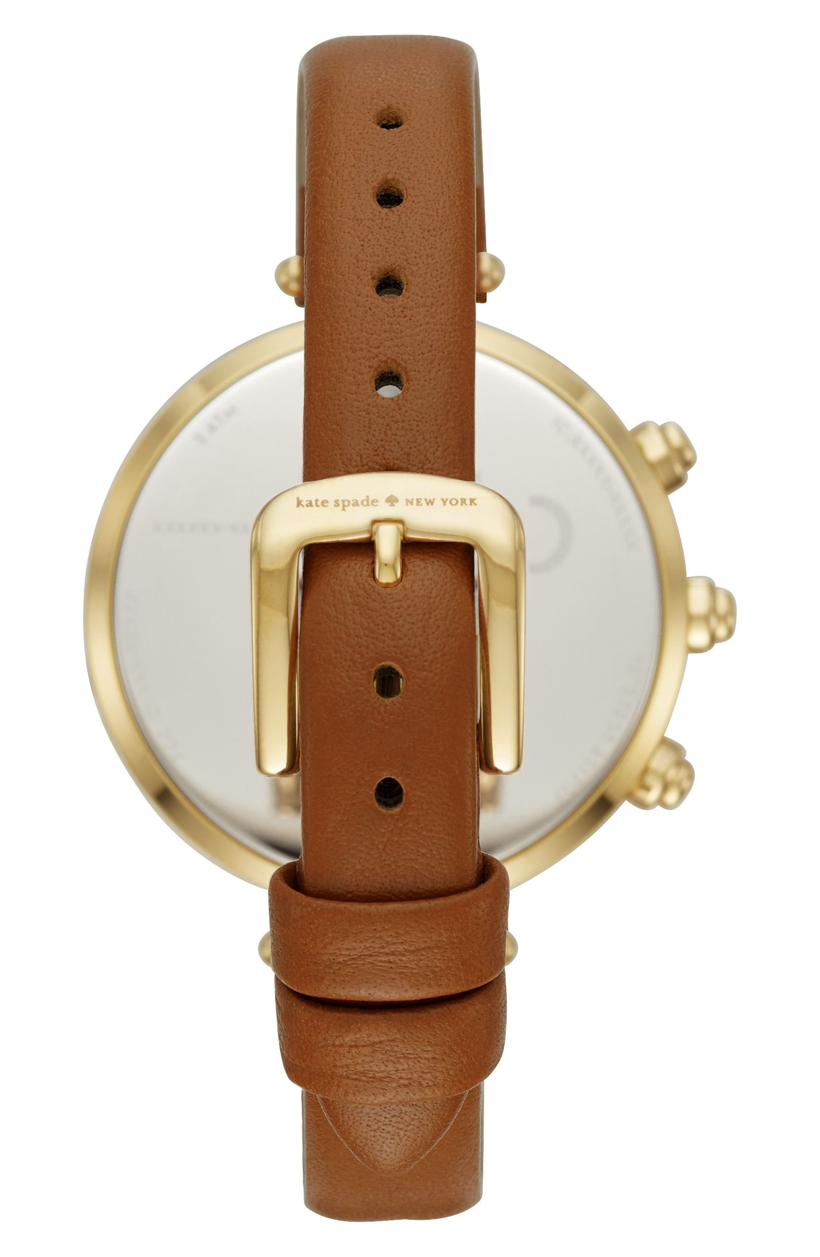 holland hybrid leather strap watch, 37mm,                             Alternate thumbnail 3, color,                             Brown/ Mop/ Gold