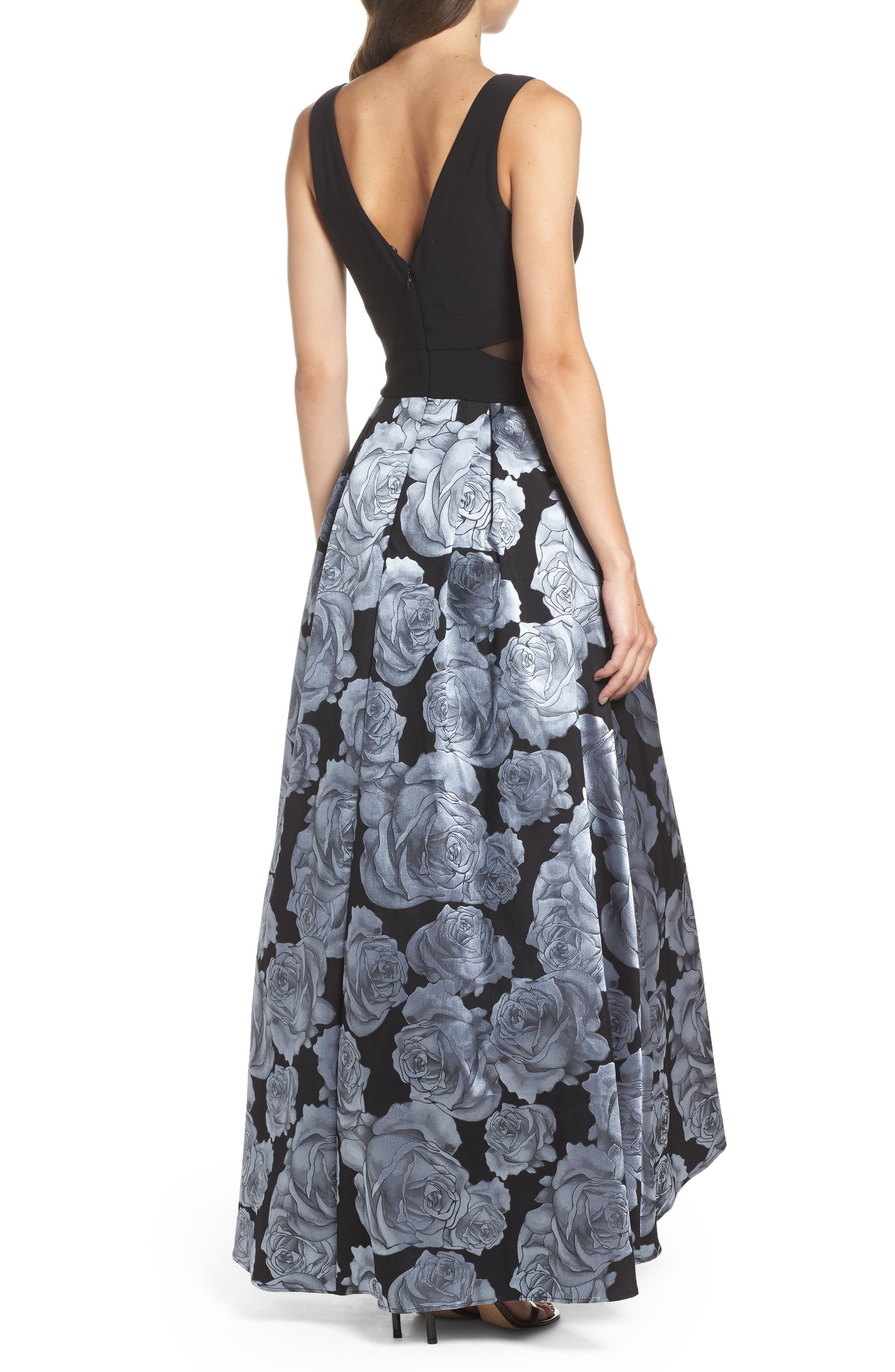 Jersey & Brocade High/Low Gown,                             Alternate thumbnail 2, color,                             Black/ Grey