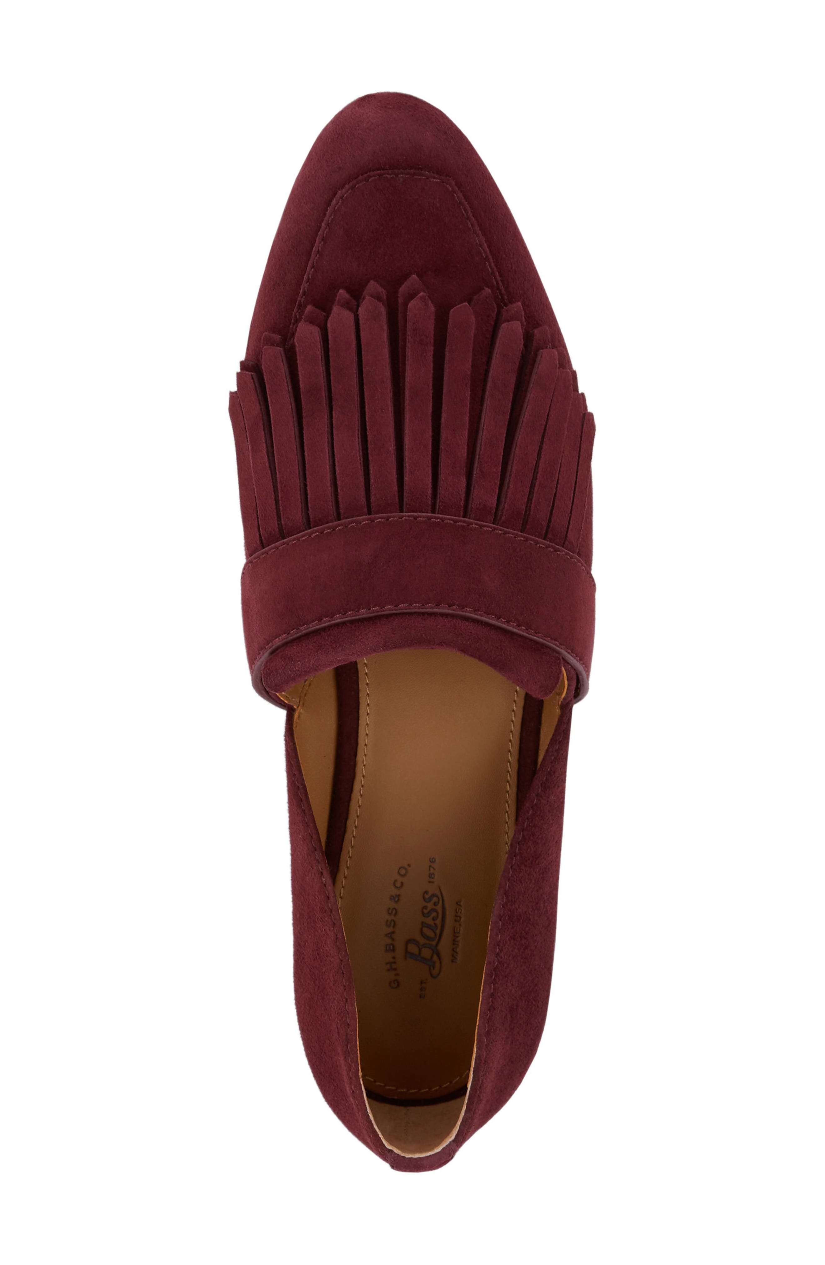 'Harlow' Kiltie Leather Loafer,                             Alternate thumbnail 5, color,                             Wine Suede