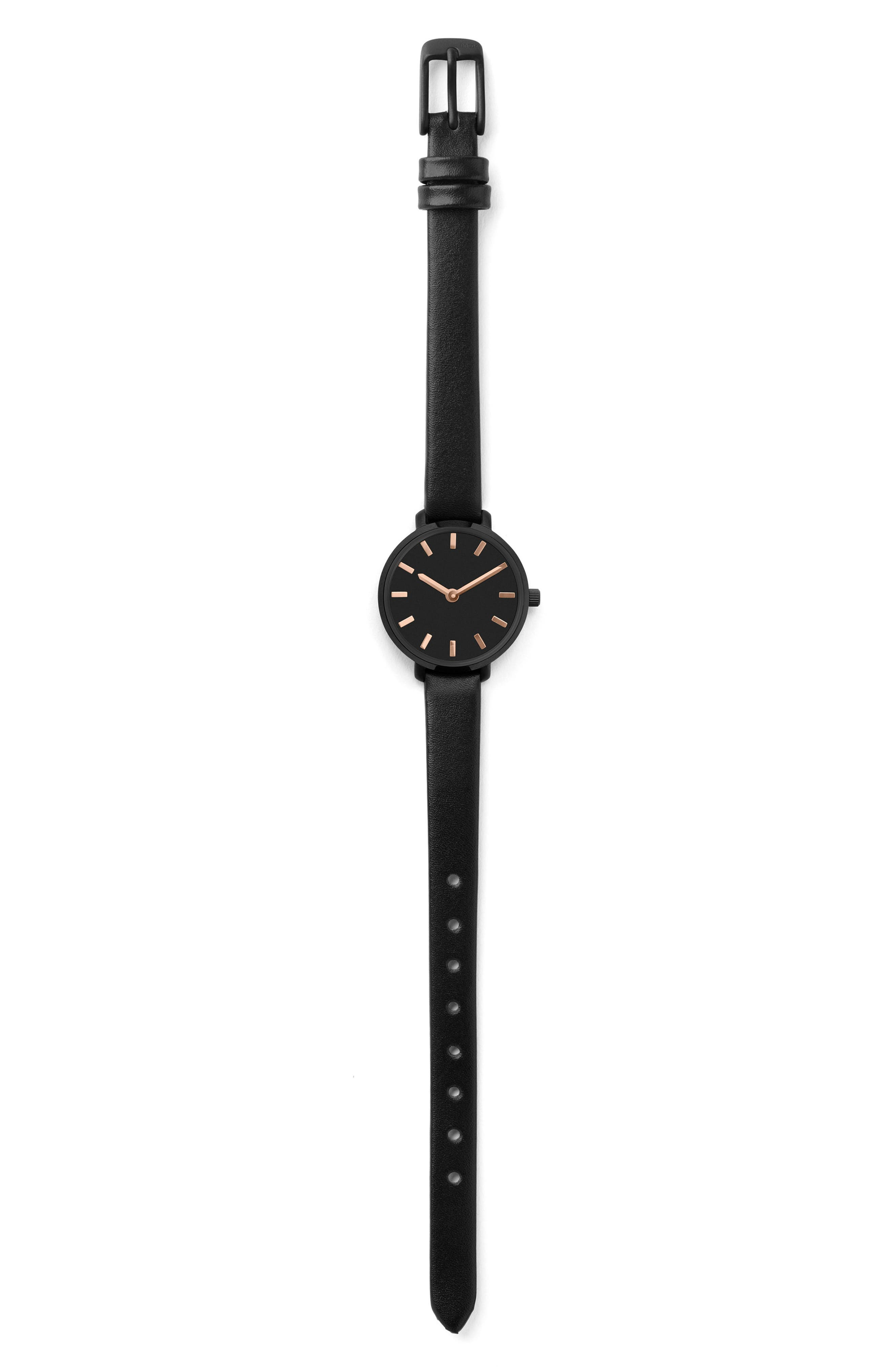 Beverly Round Leather Strap Watch, 26mm,                             Alternate thumbnail 3, color,                             Black