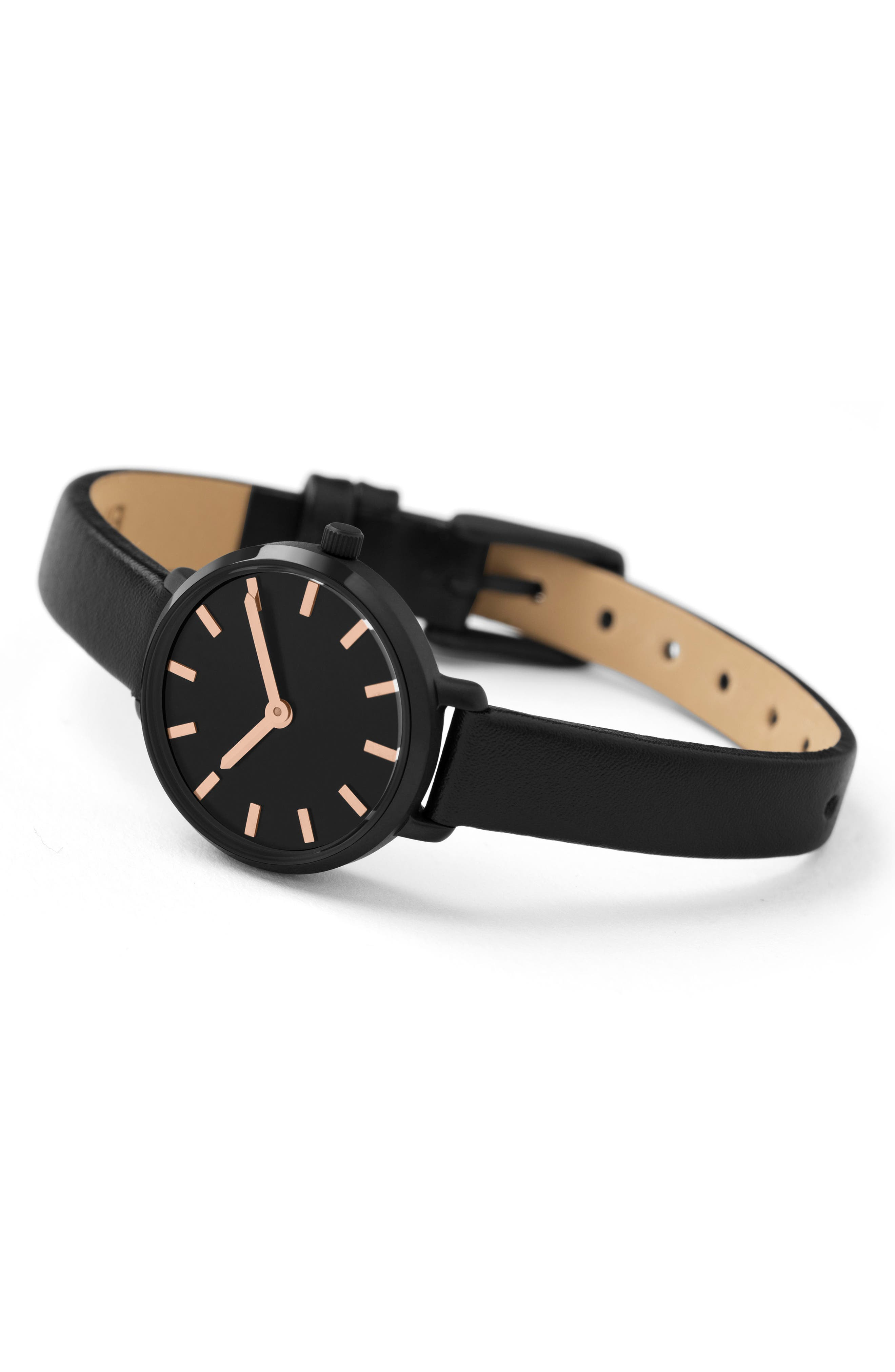 Beverly Round Leather Strap Watch, 26mm,                             Alternate thumbnail 2, color,                             Black