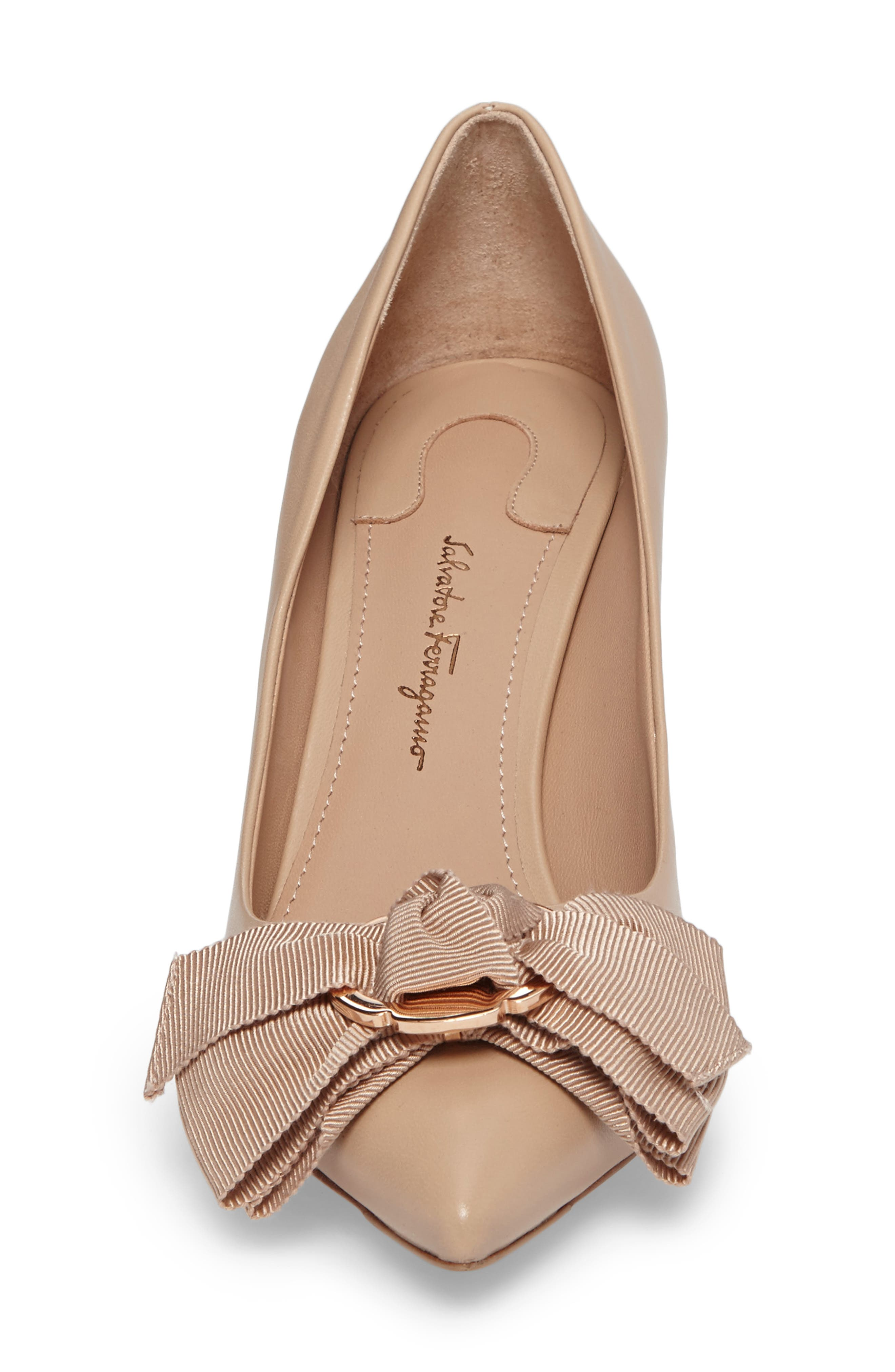 Talla Bow Pointy Toe Pump,                             Alternate thumbnail 4, color,                             Almond