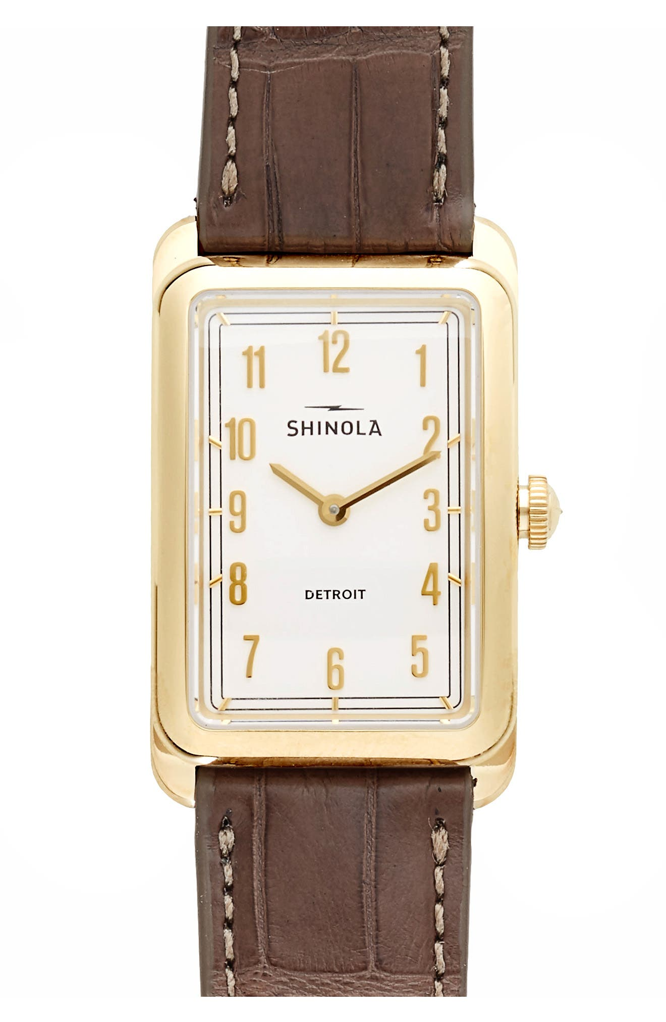 The Muldowney Rectangular Leather Strap Watch, 24mm x 32mm,                         Main,                         color, Grey/ White/ Gold