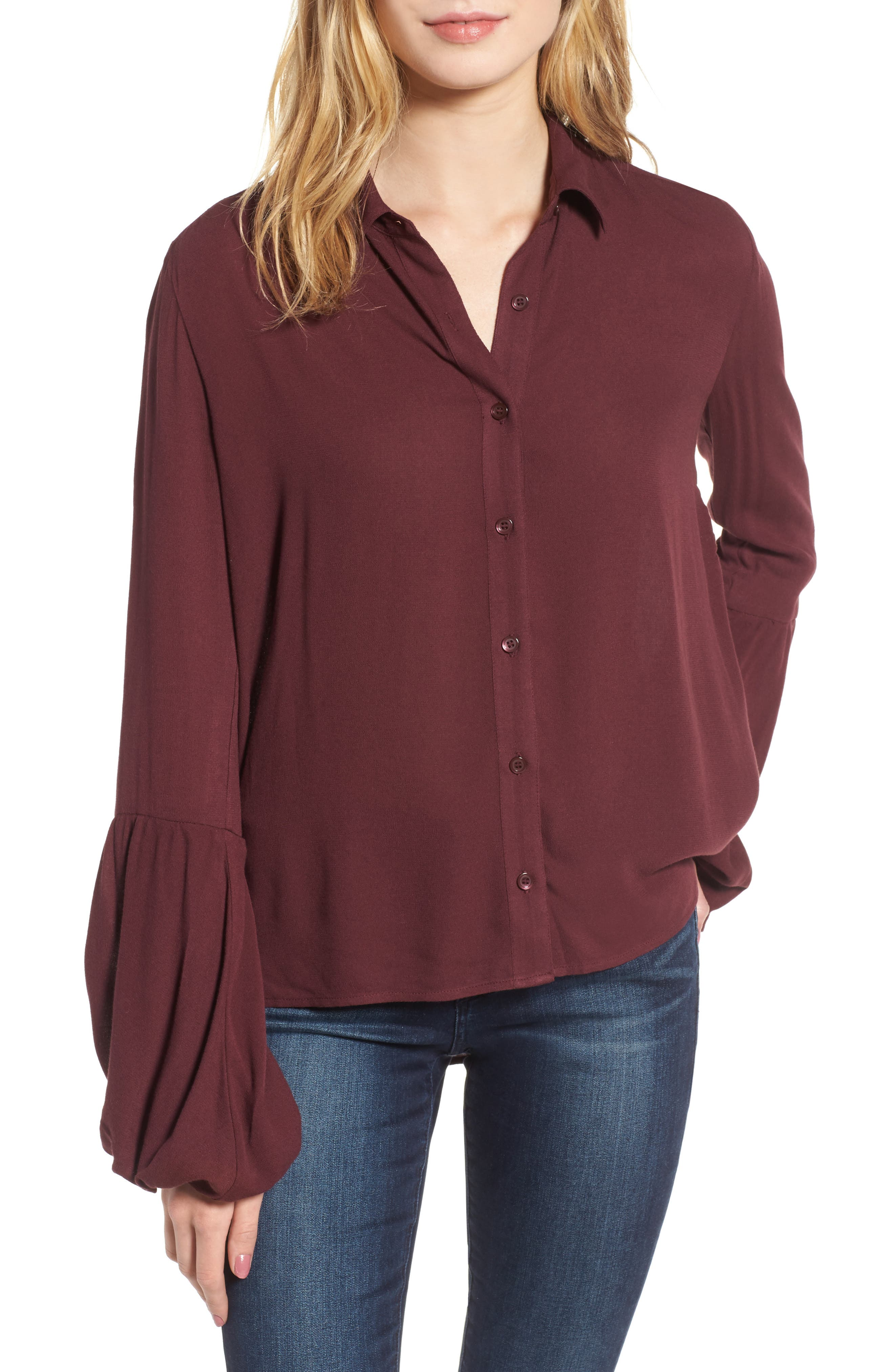 Balloon Sleeve Top,                             Main thumbnail 1, color,                             Burgundy Royale
