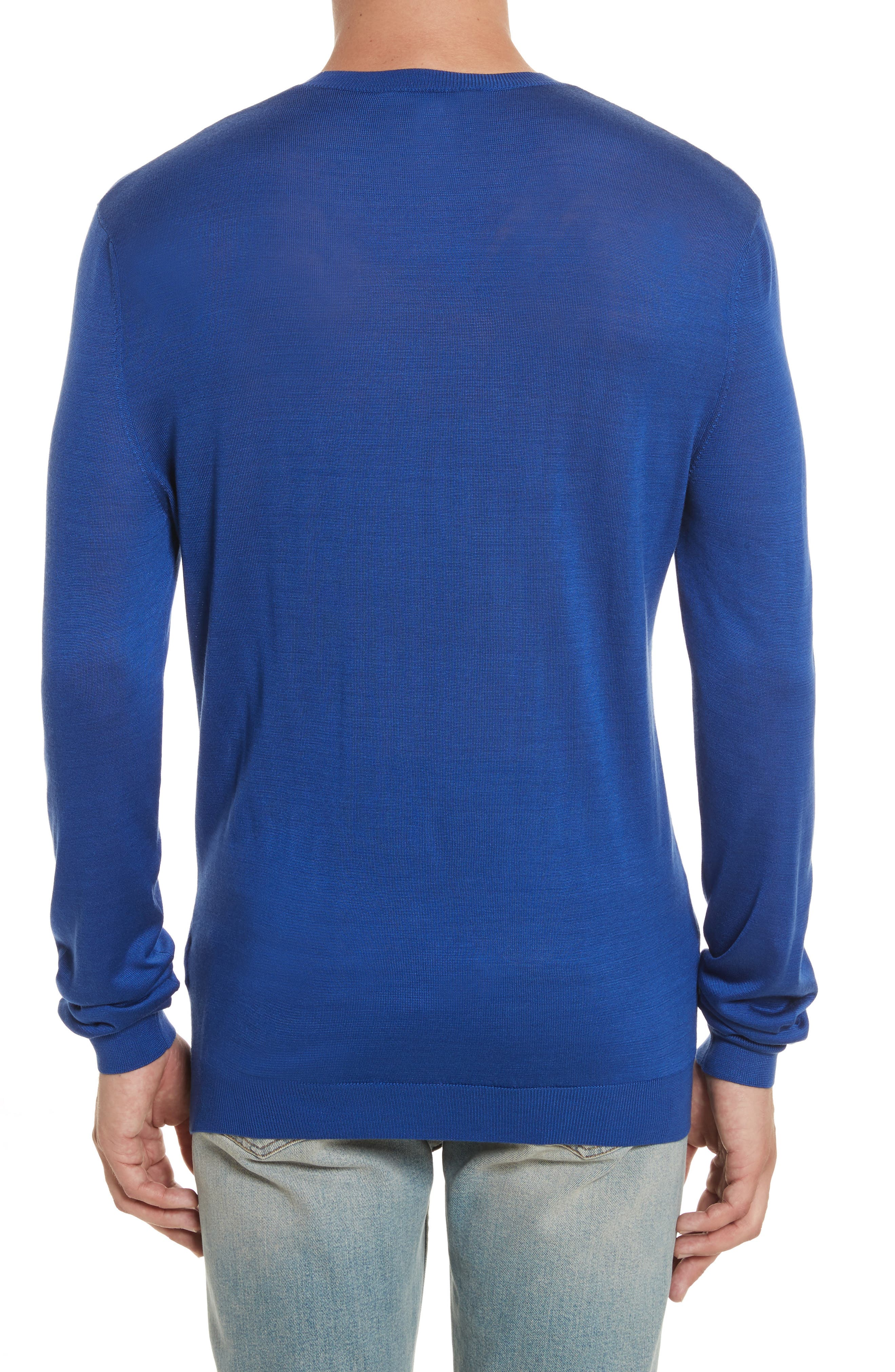 Silk Crewneck Sweater,                             Alternate thumbnail 2, color,                             Royal Blue