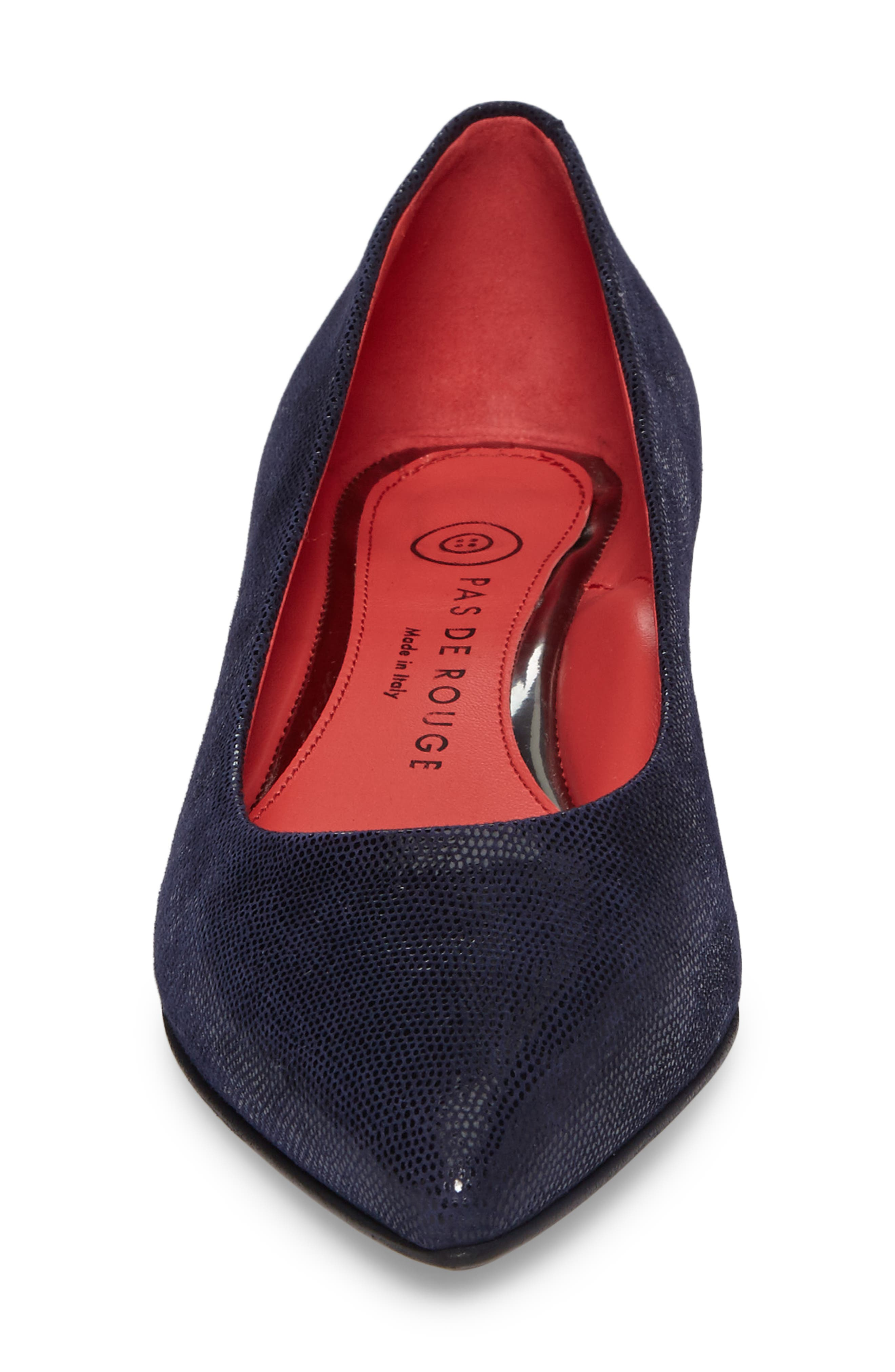 Pointy Toe Low Pump,                             Alternate thumbnail 4, color,                             Blue Leather