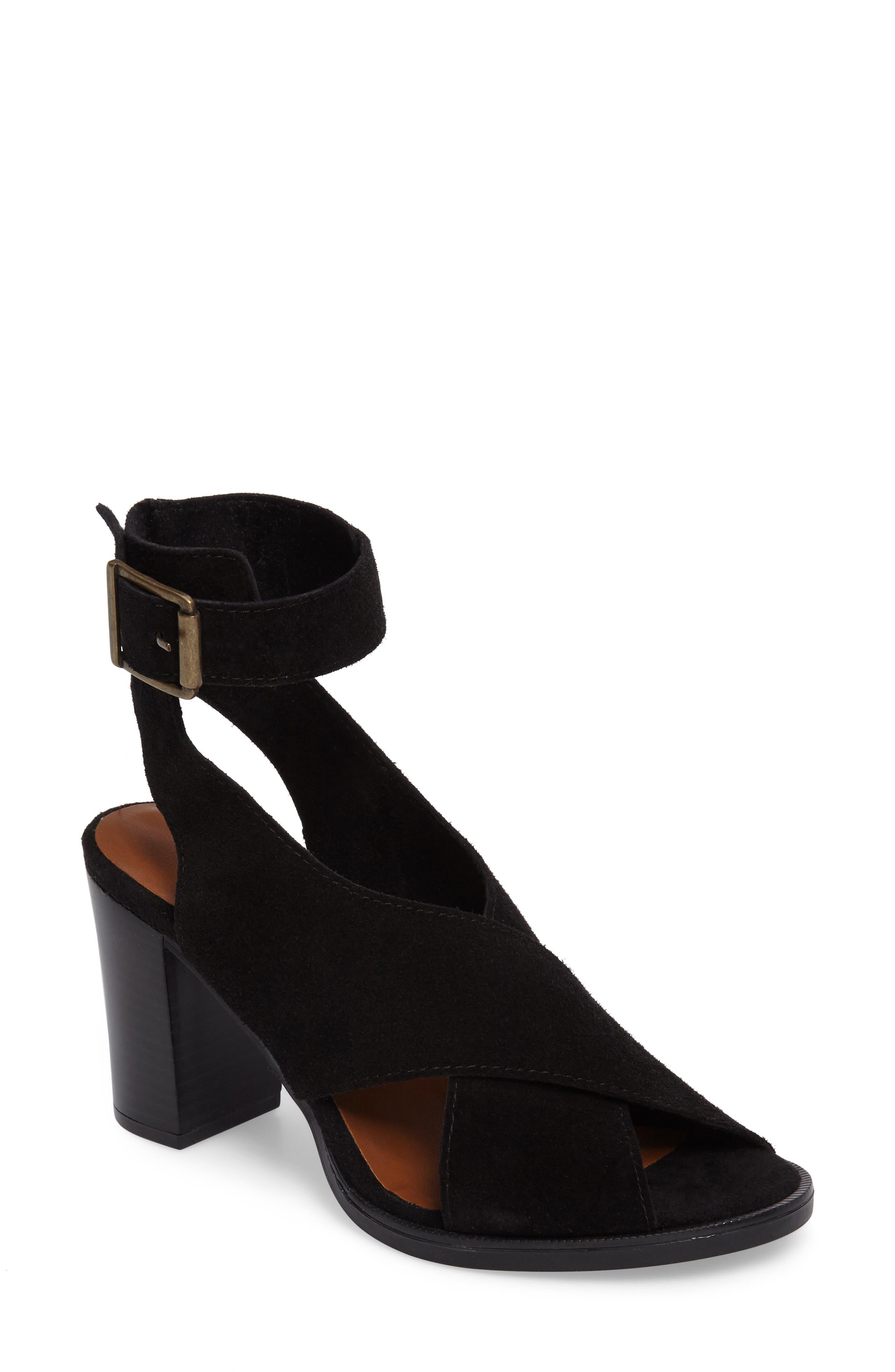Lil Ankle Wrap Sandal,                             Main thumbnail 1, color,                             Black Suede
