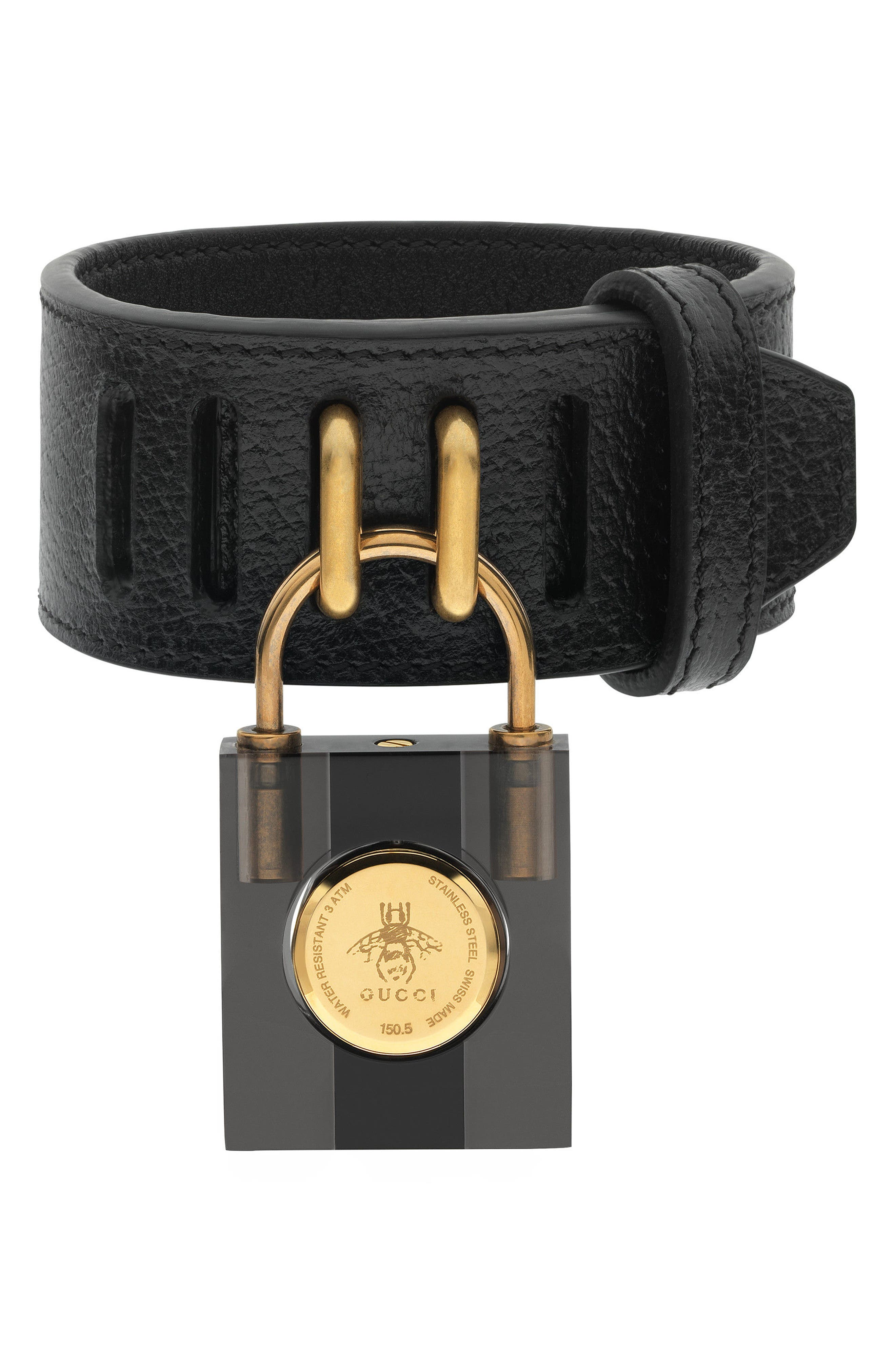 Twirl Small Leather Strap Padlock Watch, 17mm,                             Alternate thumbnail 2, color,                             Black/ Gold